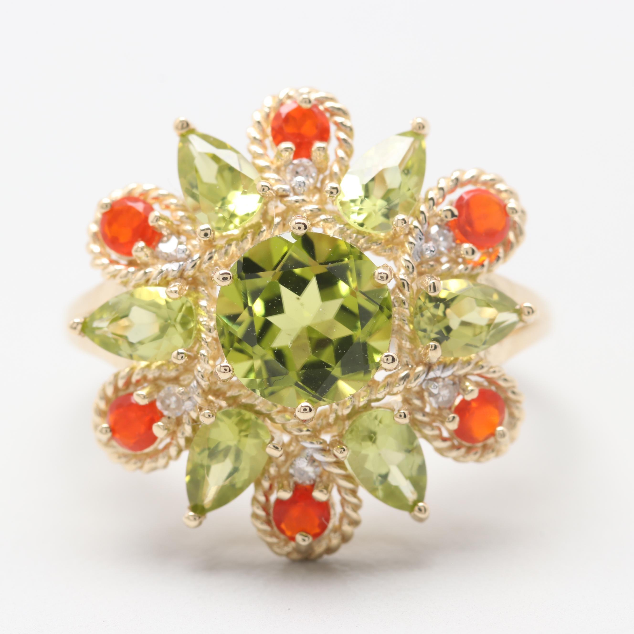 14K Yellow Gold Peridot, Opal and Diamond Ring