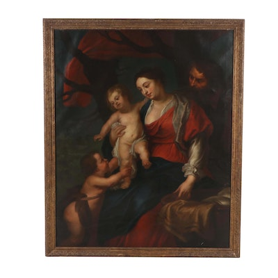 Oil on Canvas in the Manner of Peter Paul Rubens of the Holy Family