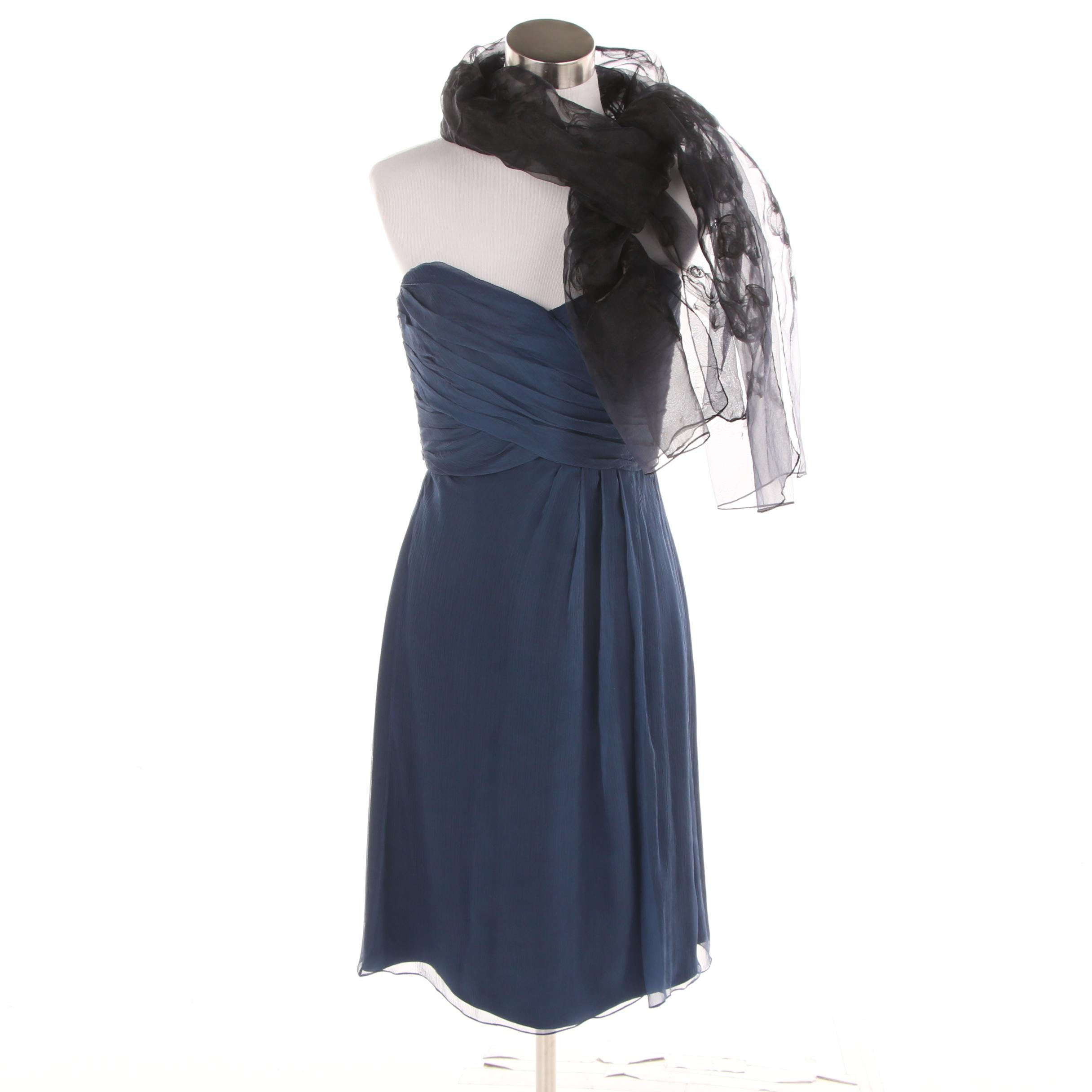 Amsale Blue Silk Strapless Cocktail Dress with a Sheer Black Scarf