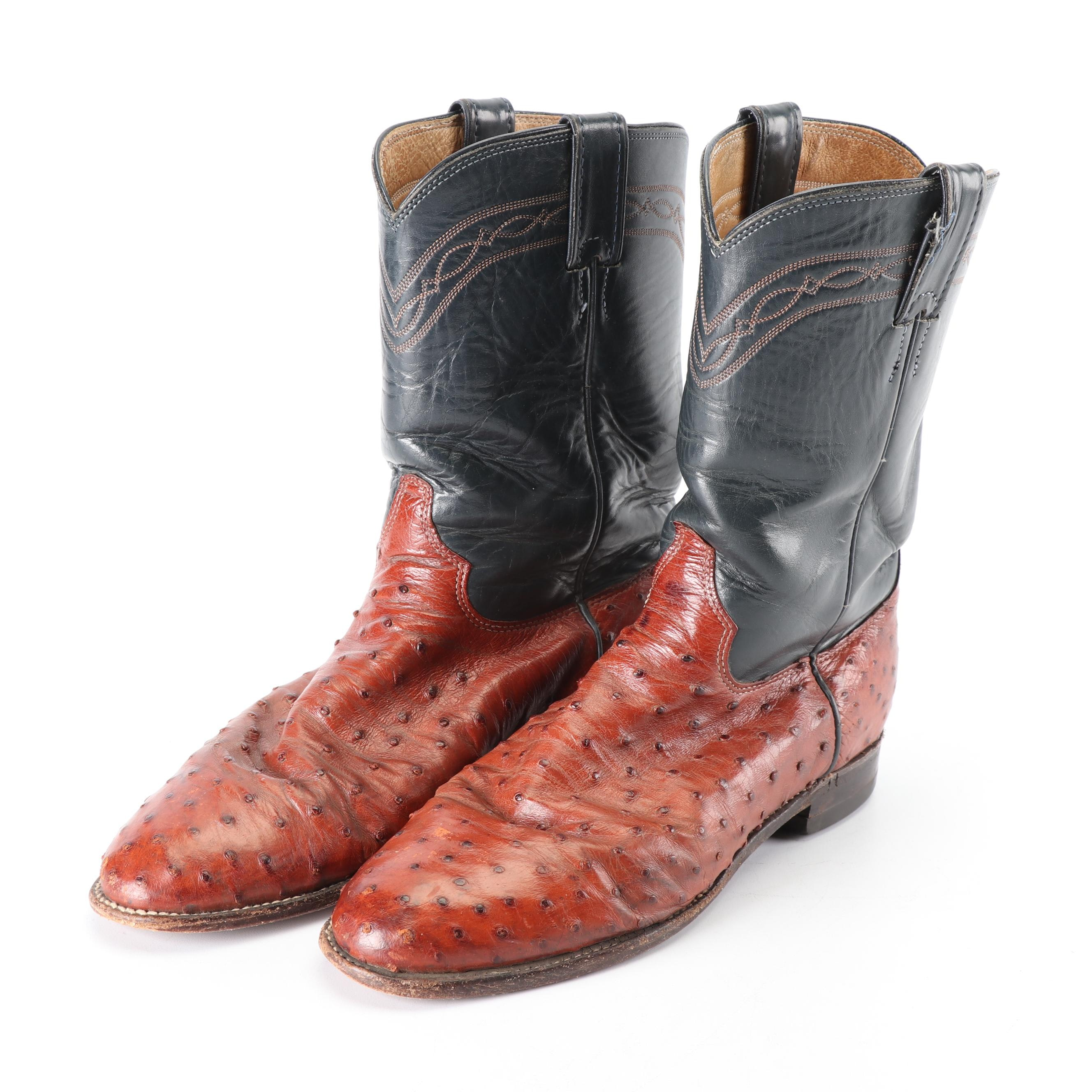 Men's Vintage Justin Leather and Ostrich Skin Cowboy Boots