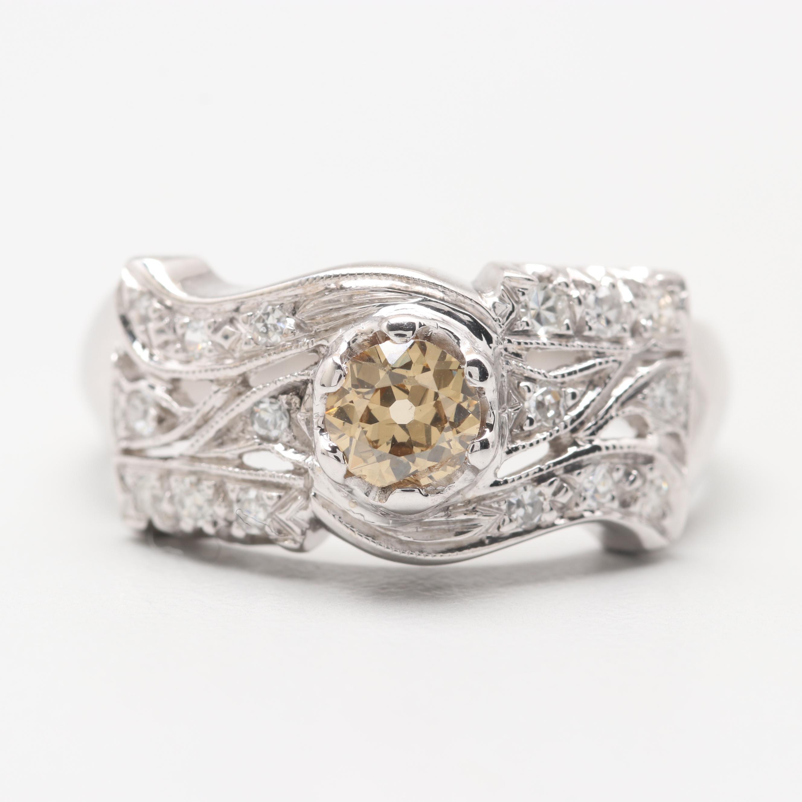 14K Yellow Gold Fancy Color Old European Cut Diamond Ring