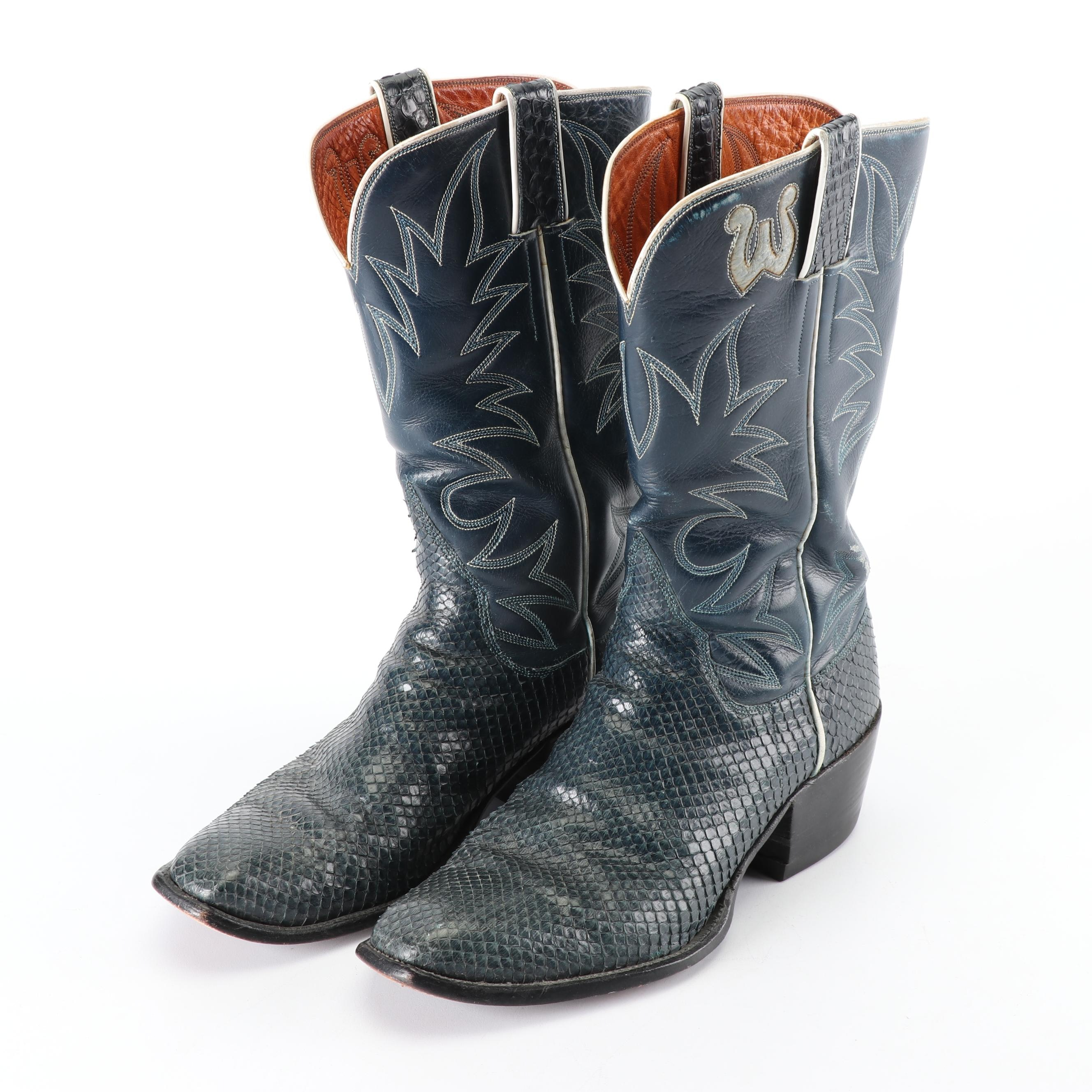 Women's Vintage Blue Leather and Dyed Snakeskin Cowboy Boots