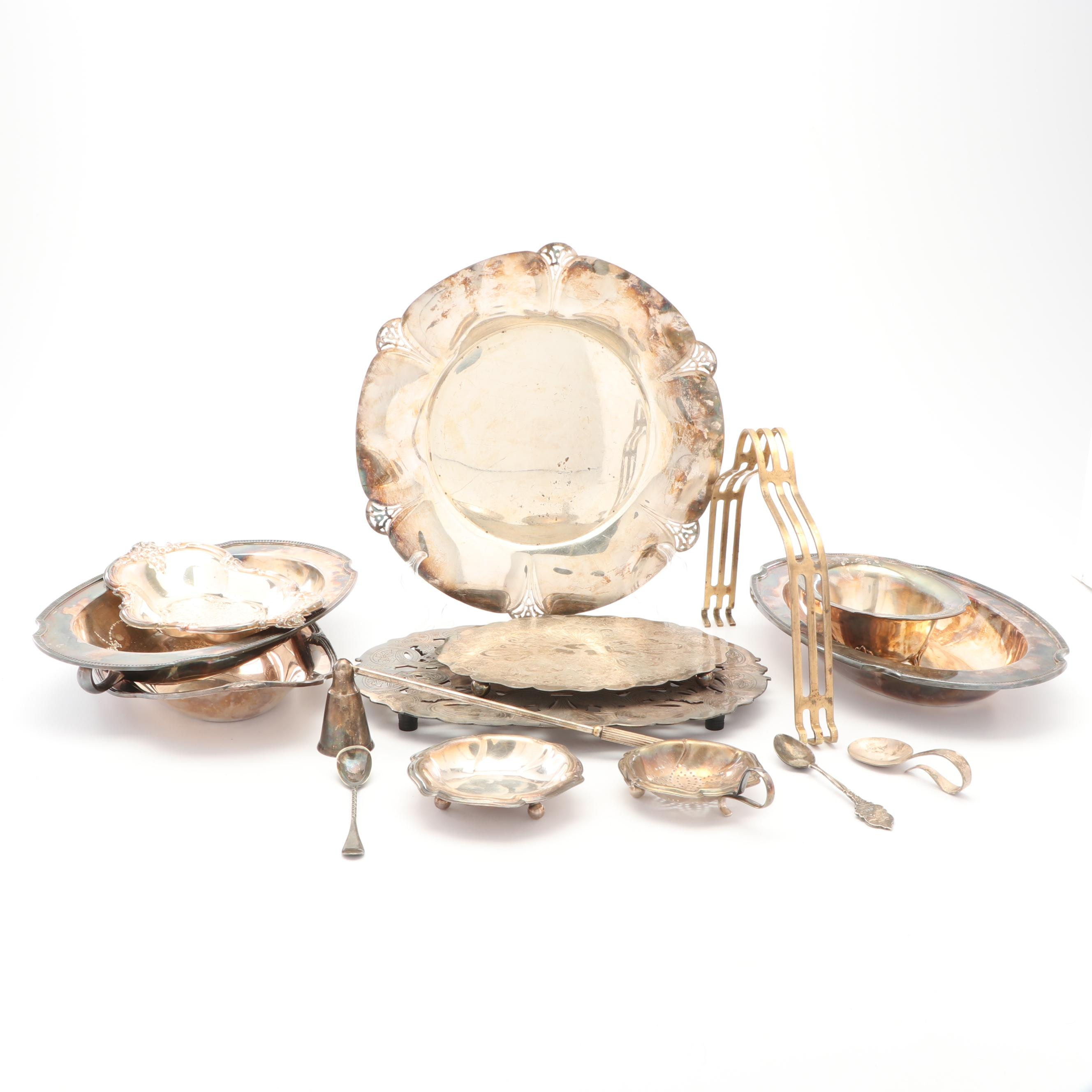"""Rogers """"Moonbeam"""" Vegetable Dish with Other Silver Plate Serveware"""