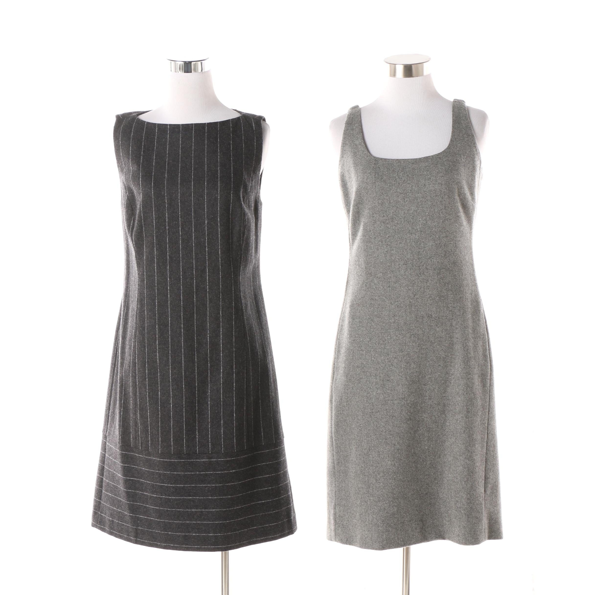 Charles Nolan Grey Pinstriped and Aeve Salt and Pepper Sleeveless Wool Dresses