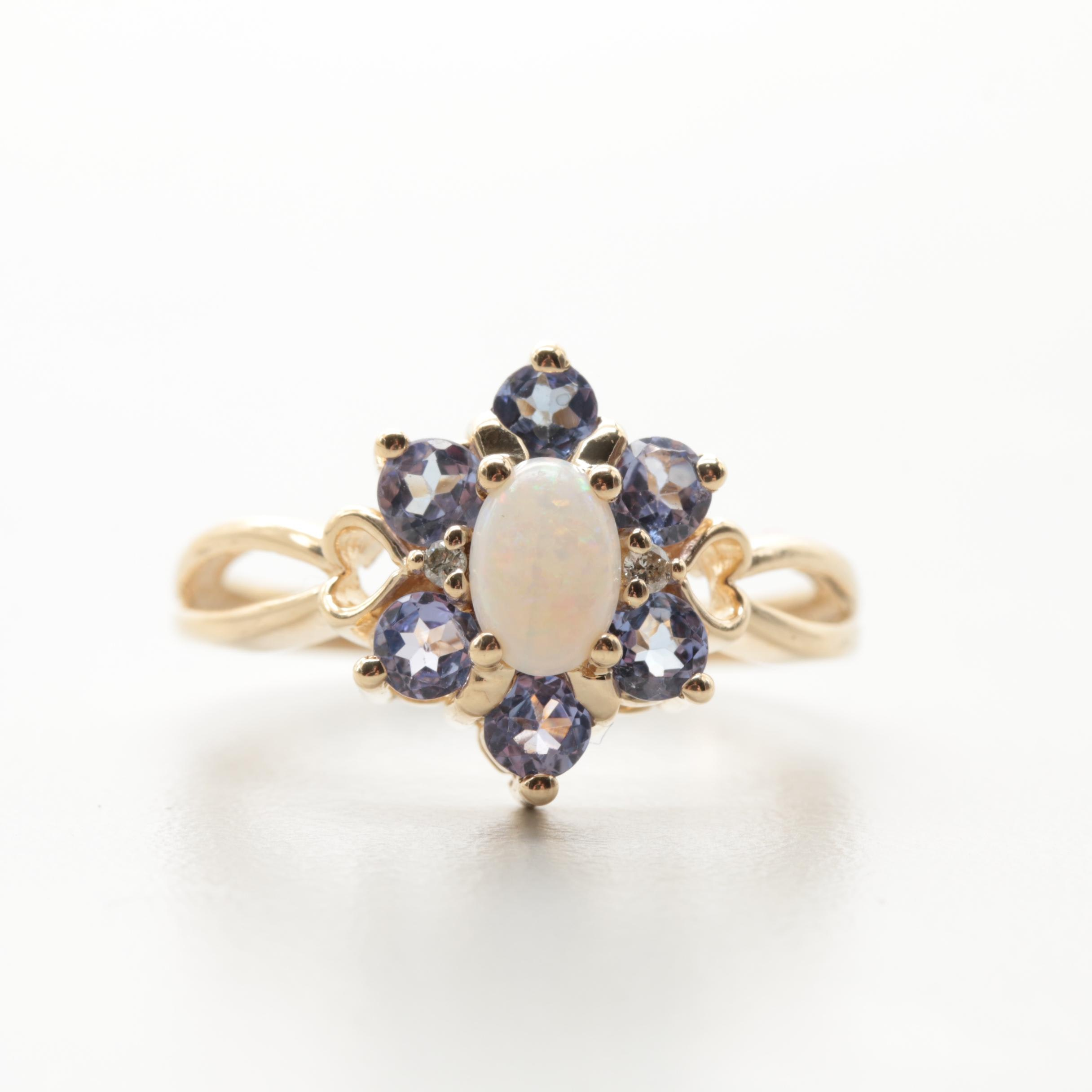 14K Yellow Gold Opal, Diamond and Tanzanite Ring