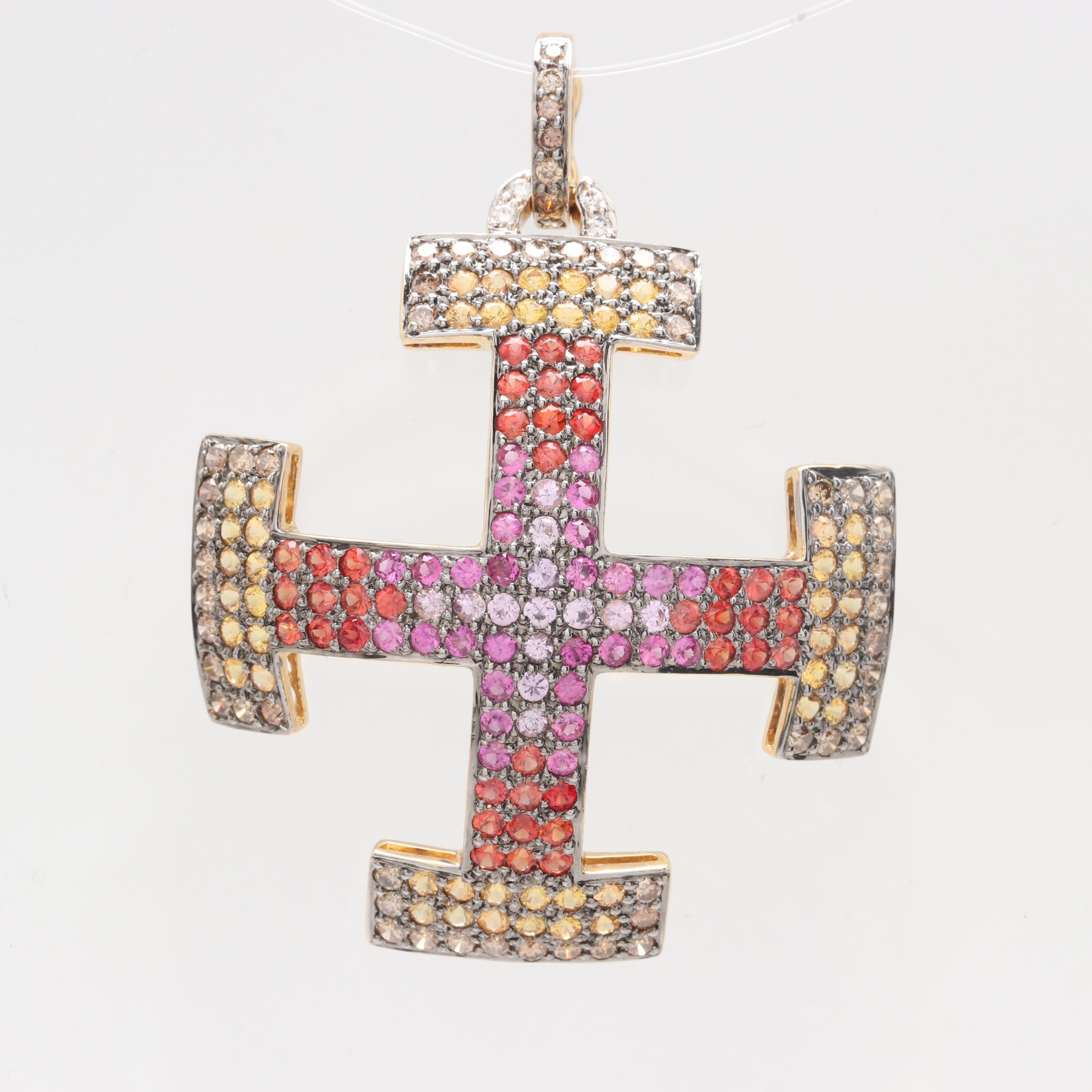 18K Yellow Gold 1.10 CTW Diamond and Fancy Sapphire Cross Potent Pendant