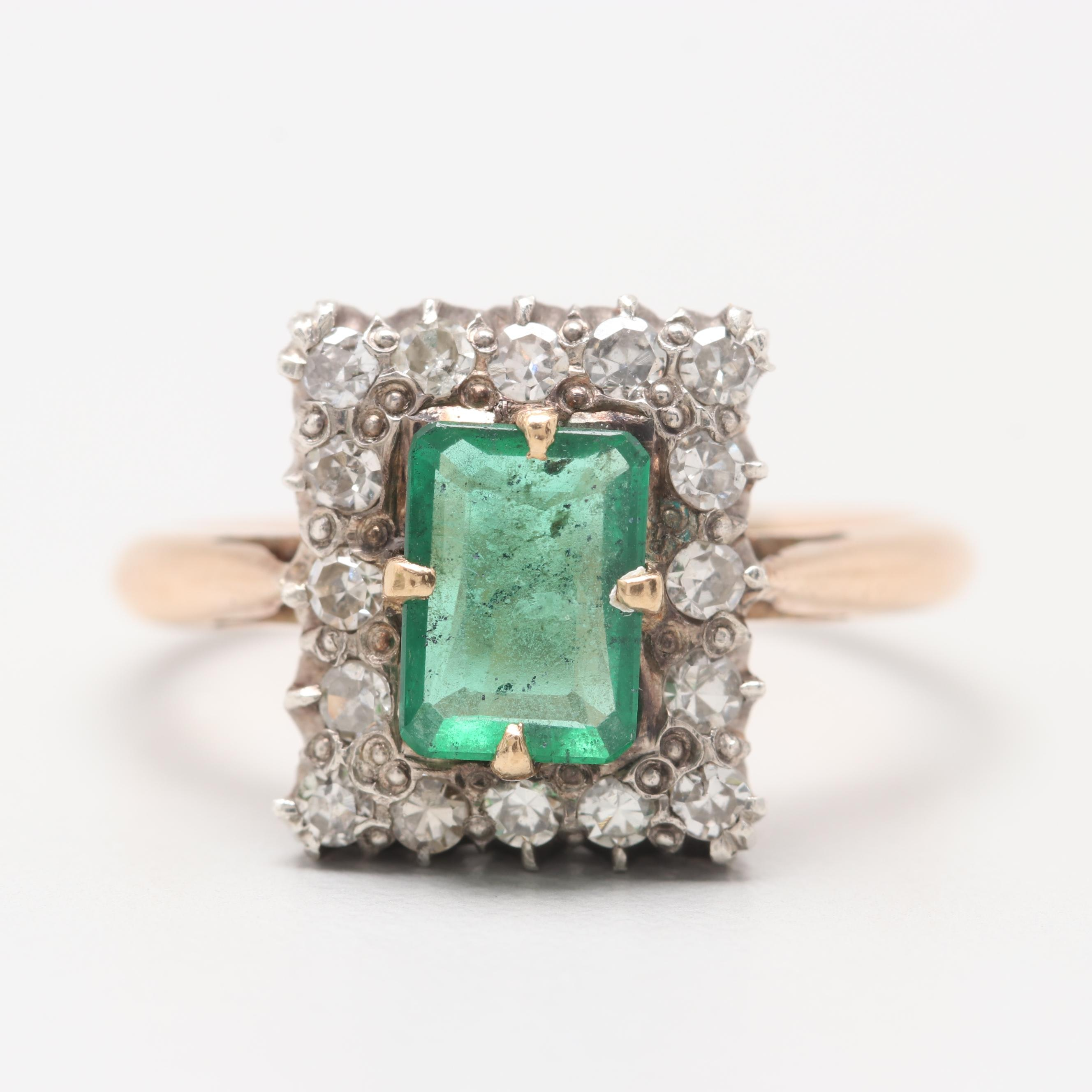 Retro Era 14K Yellow Gold Emerald and Diamond Ring with Sterling Silver Accent