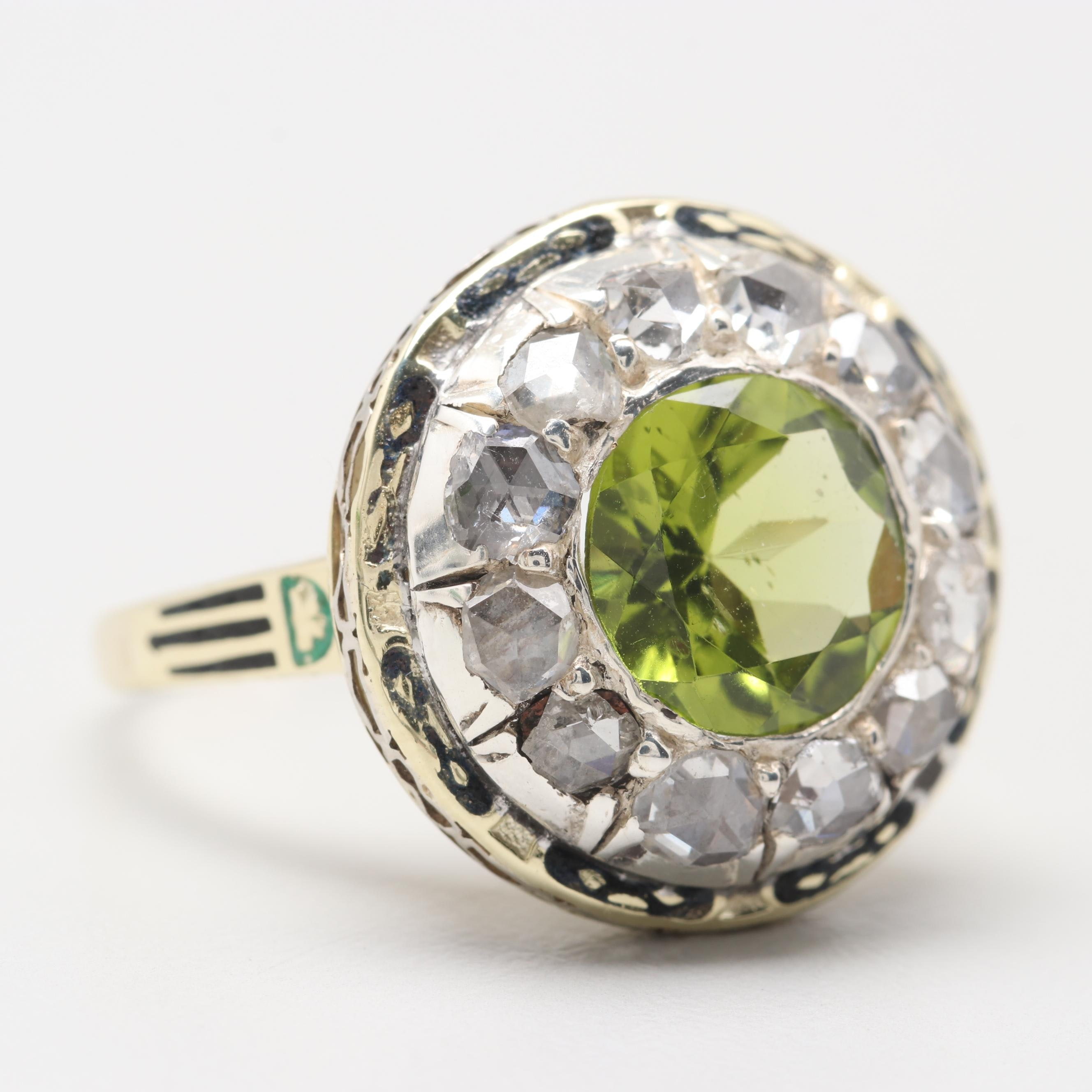 Vintage 14K Yellow Gold Peridot and Diamond Ring with Sterling and Enamel Accent
