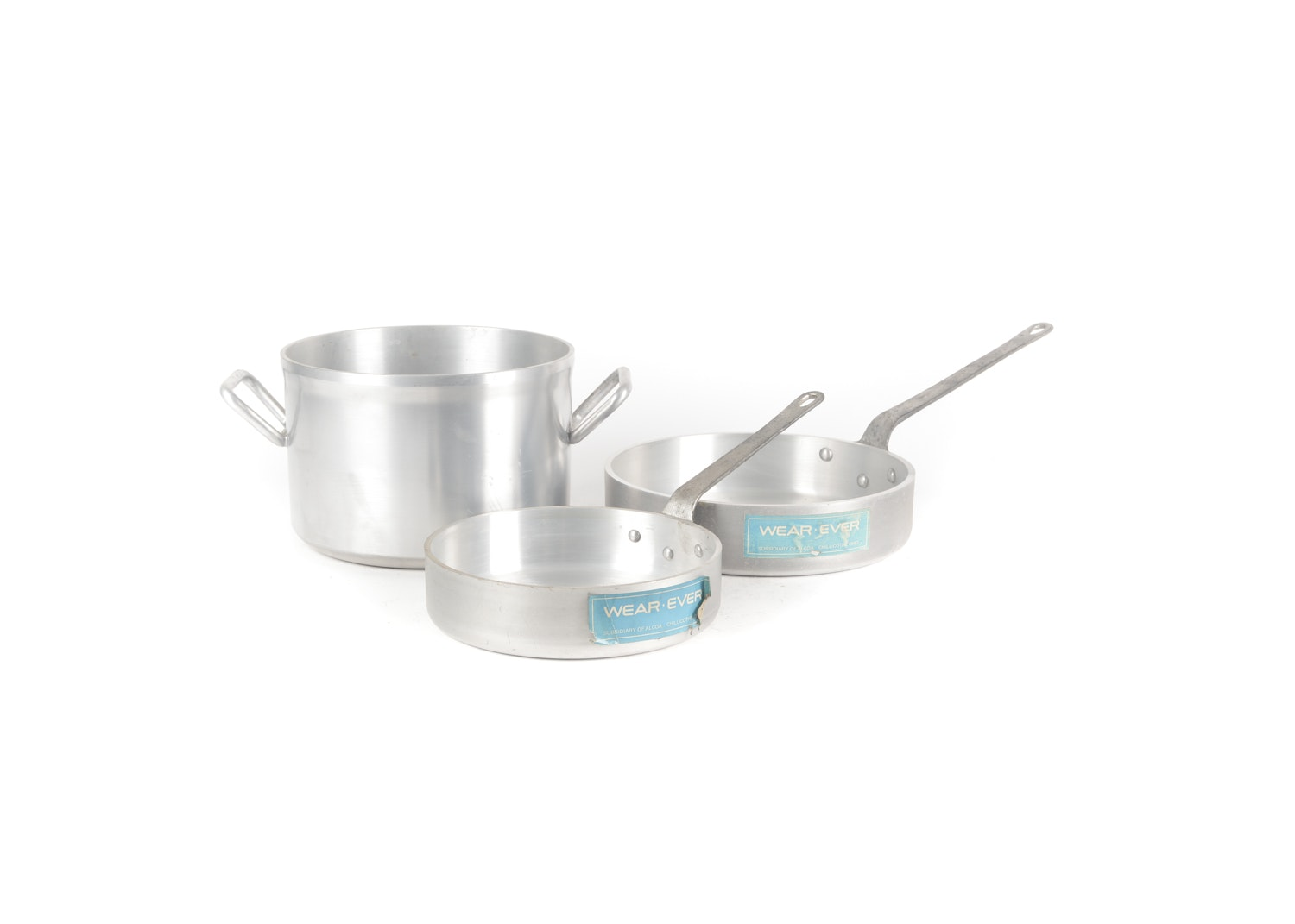 Vintage Wear-Ever Stainless Steel Sauté Pans and Stock Pot