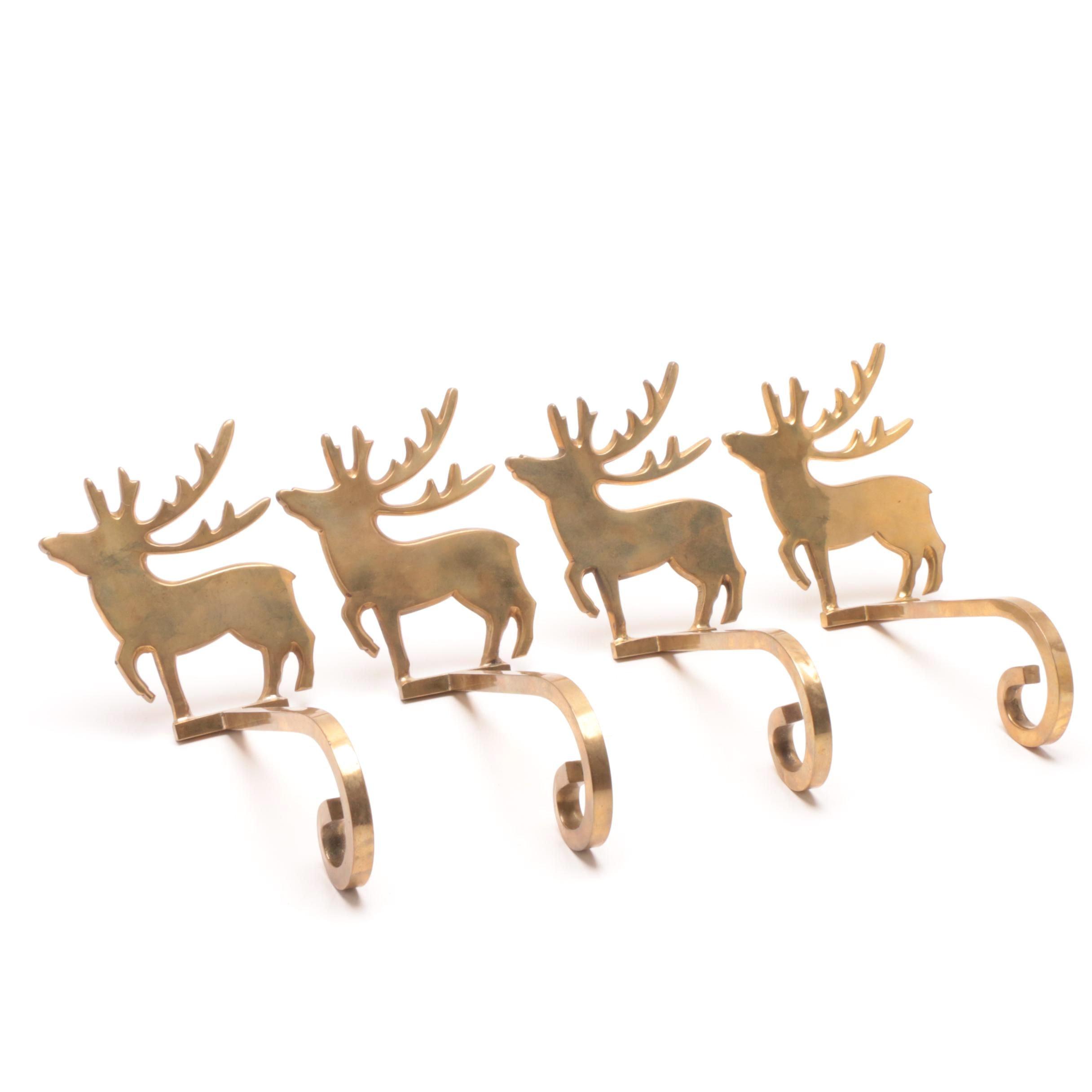 Brass Reindeer Stocking Holders