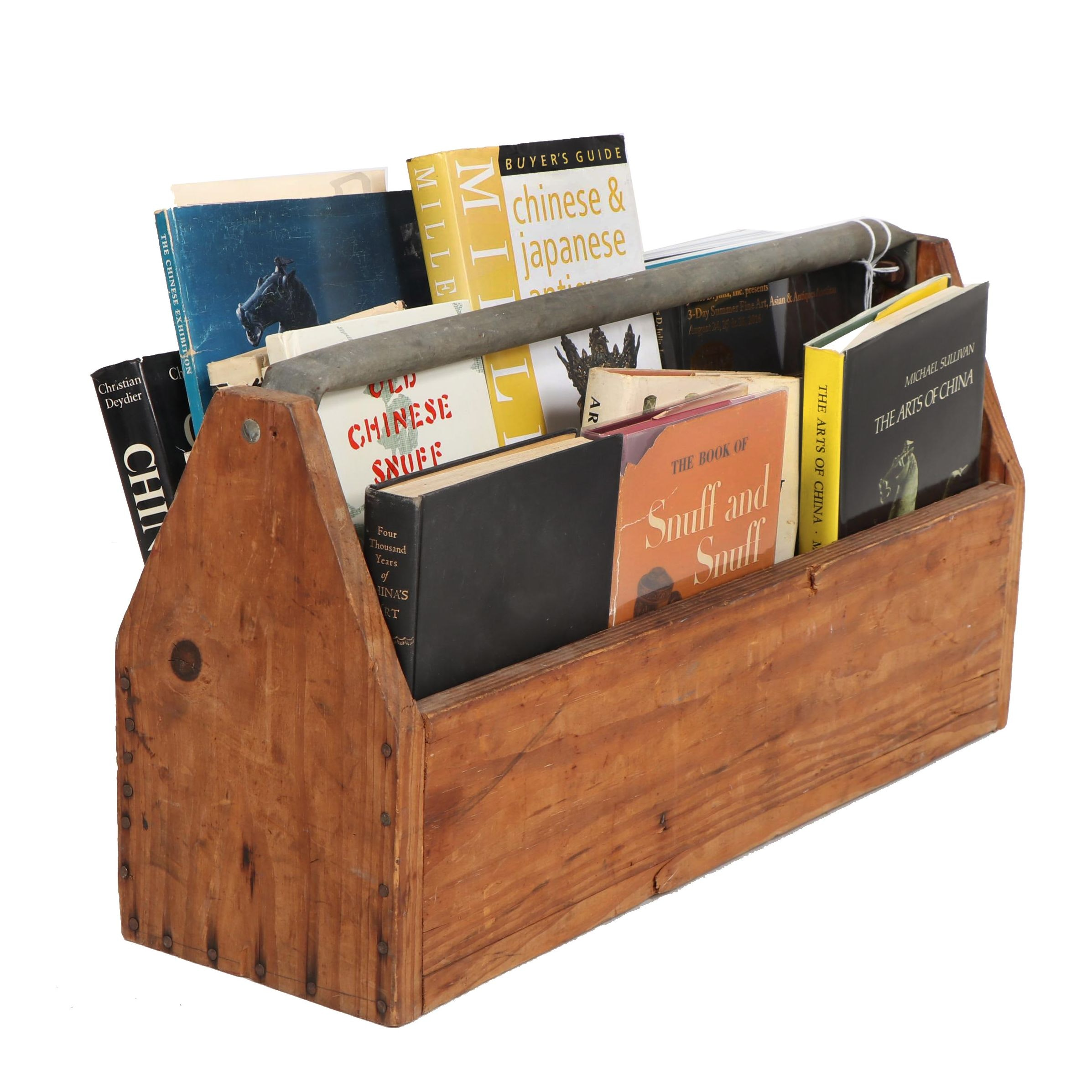 Asian Art and Other Collectors Books with Auction Catalogs in a Wood Caddy