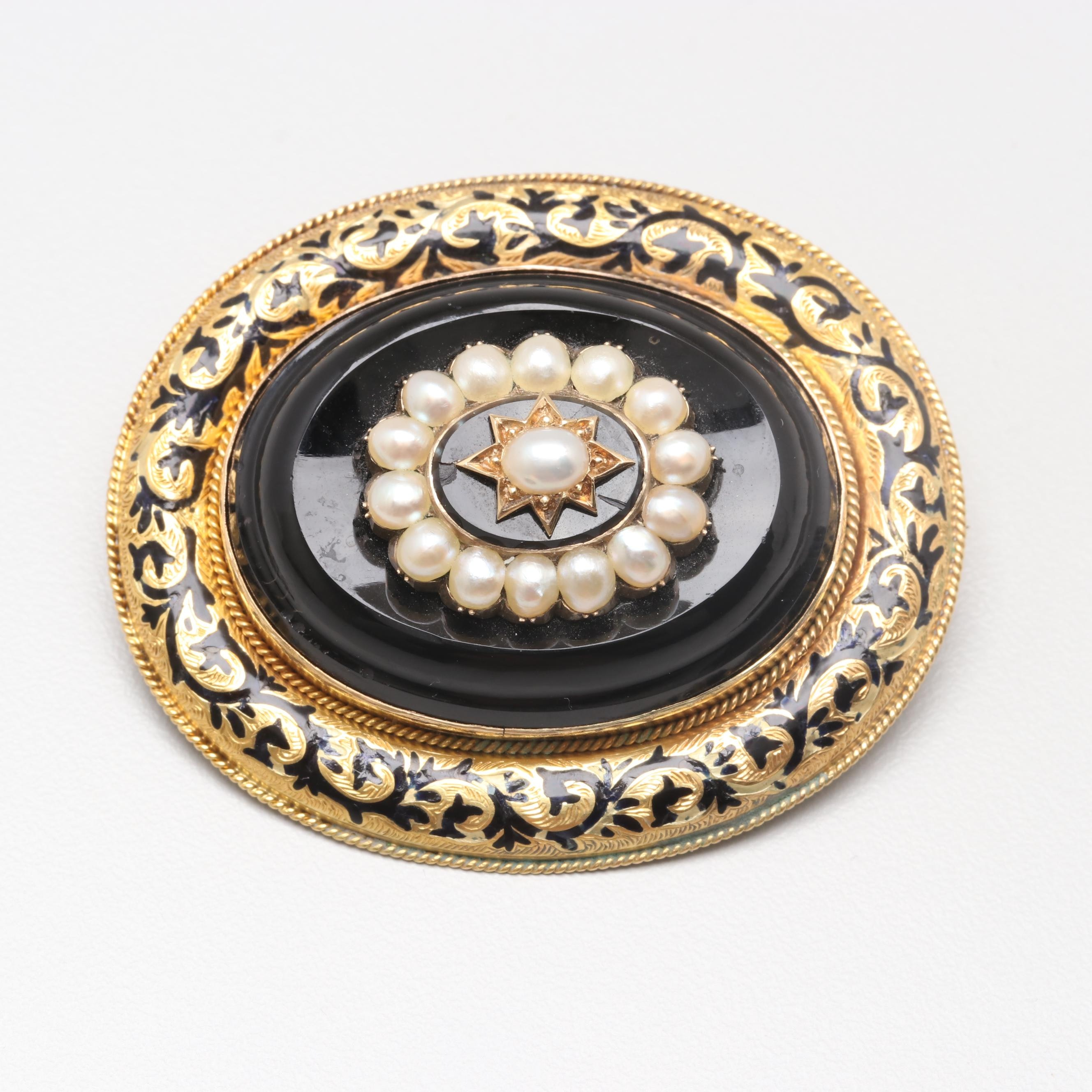 Victorian 14K Yellow Gold Cultured Pearl, Black Onyx and Enamel Mourning Brooch