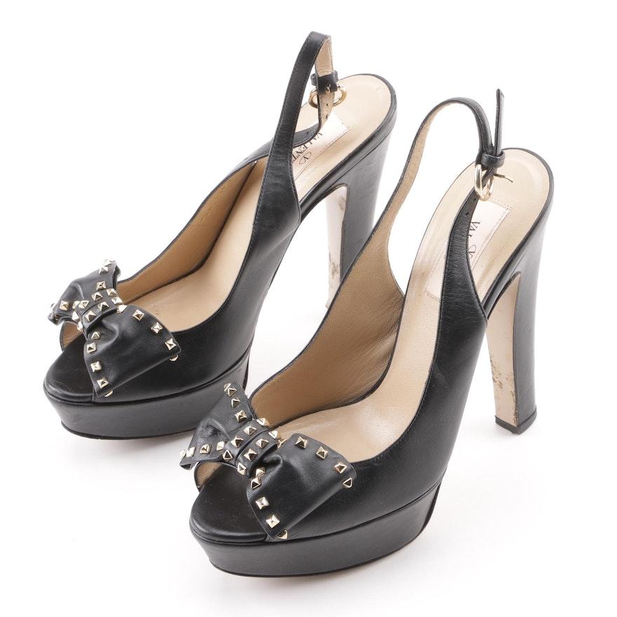 82fe27e4b14 Valentino Garavani Black Leather Studded Bow Platform Peep-Toe Sandals ...