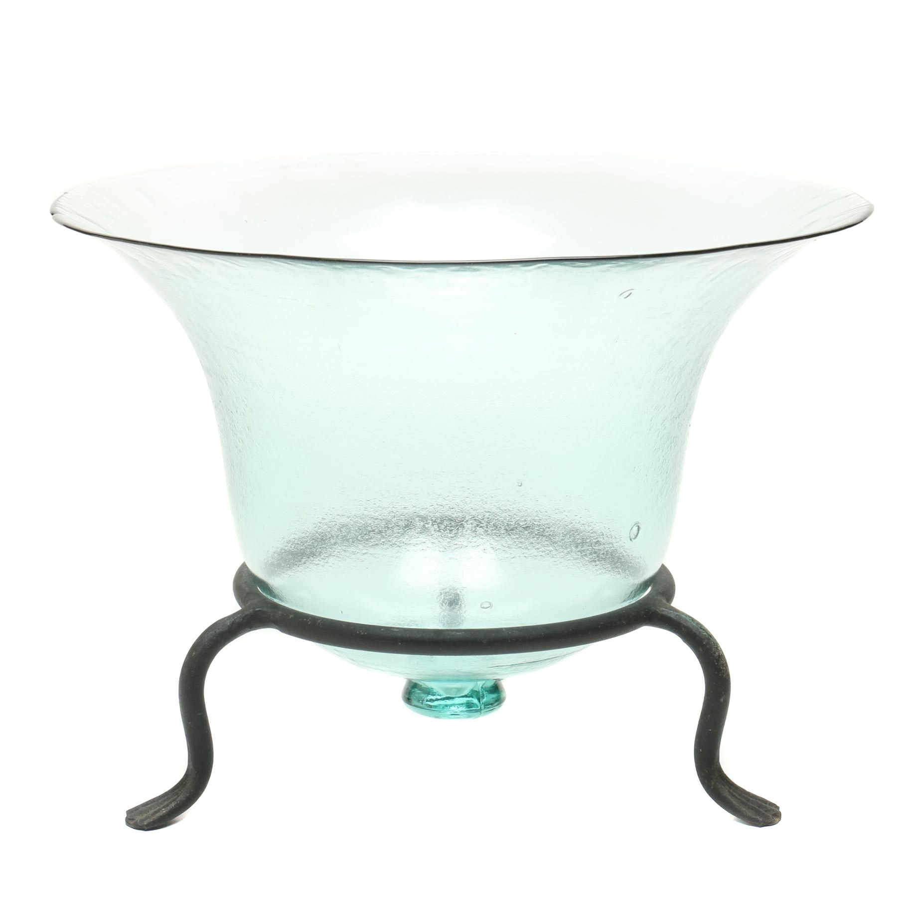 Large Glass Vase with Stand
