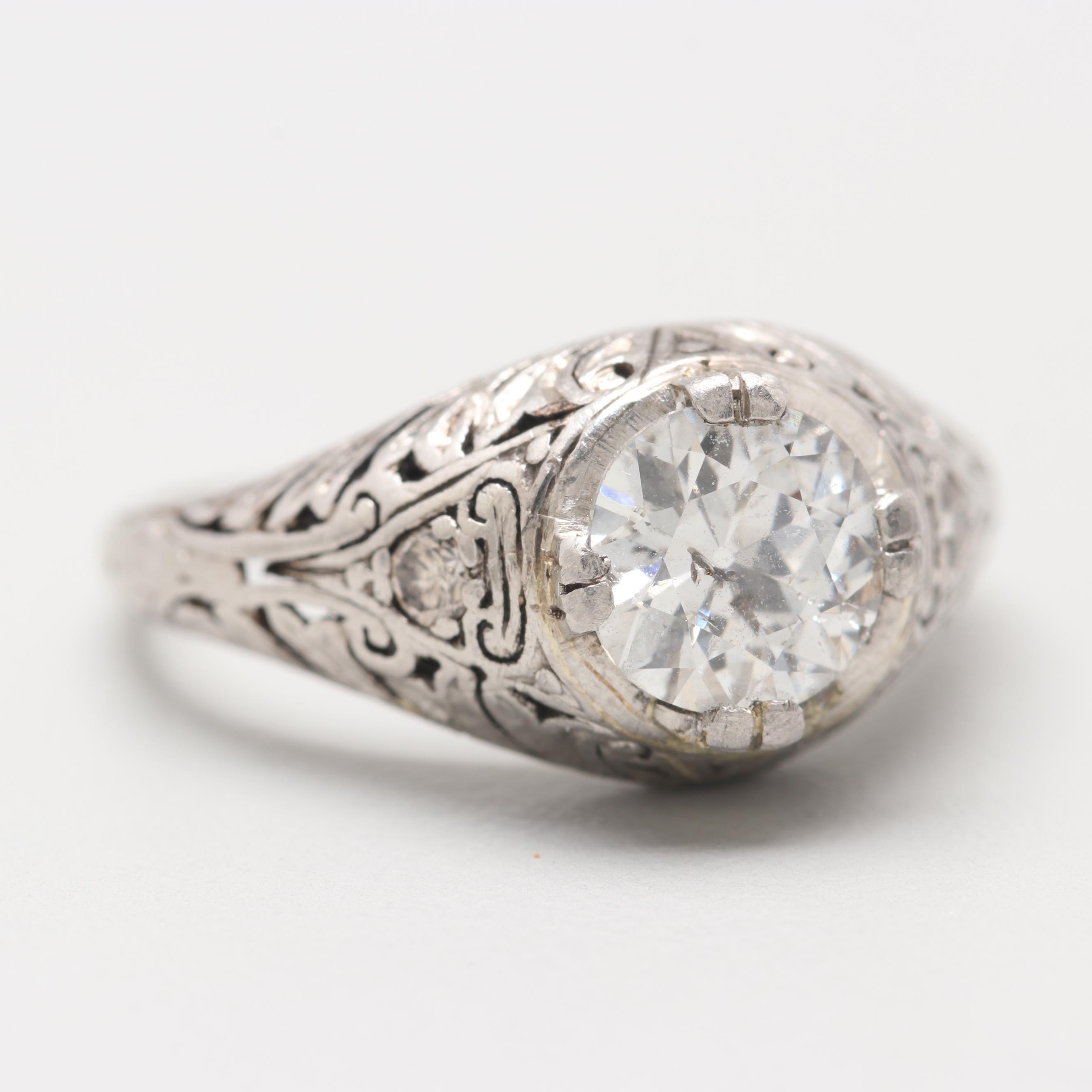 Edwardian 18K White Gold and Platinum 1.03 CTW Diamond Ring