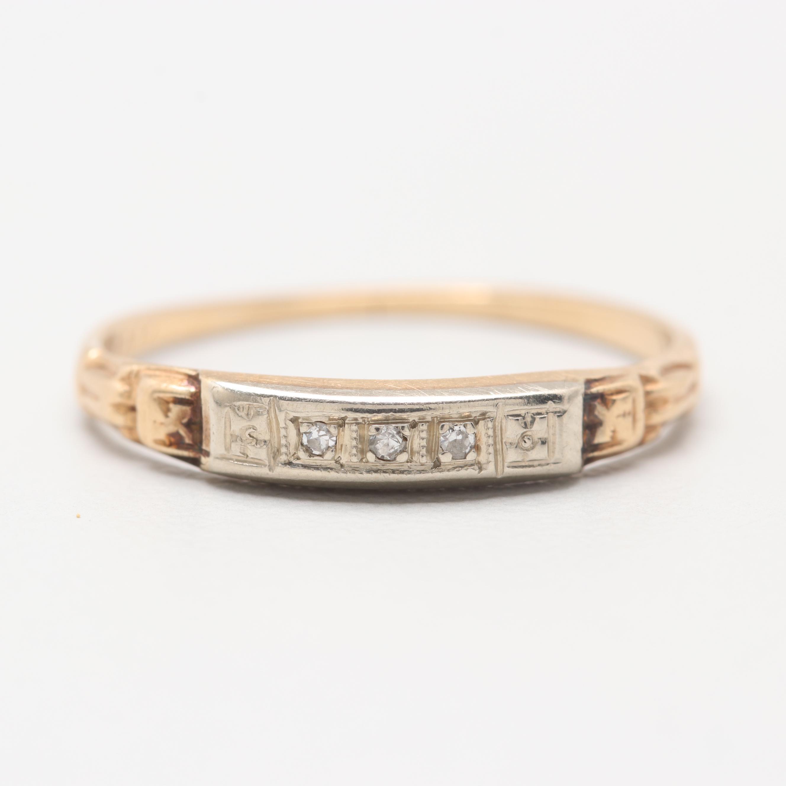 Circa 1930s 14K Yellow Gold Diamond Ring