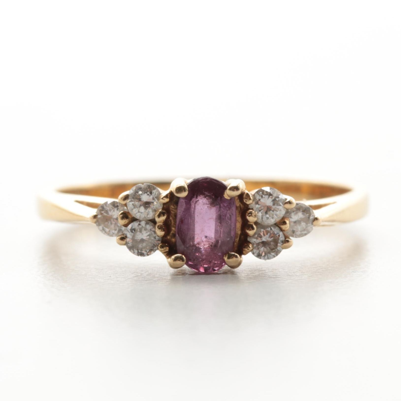 14K Yellow Gold Purple Sapphire and Diamond Ring