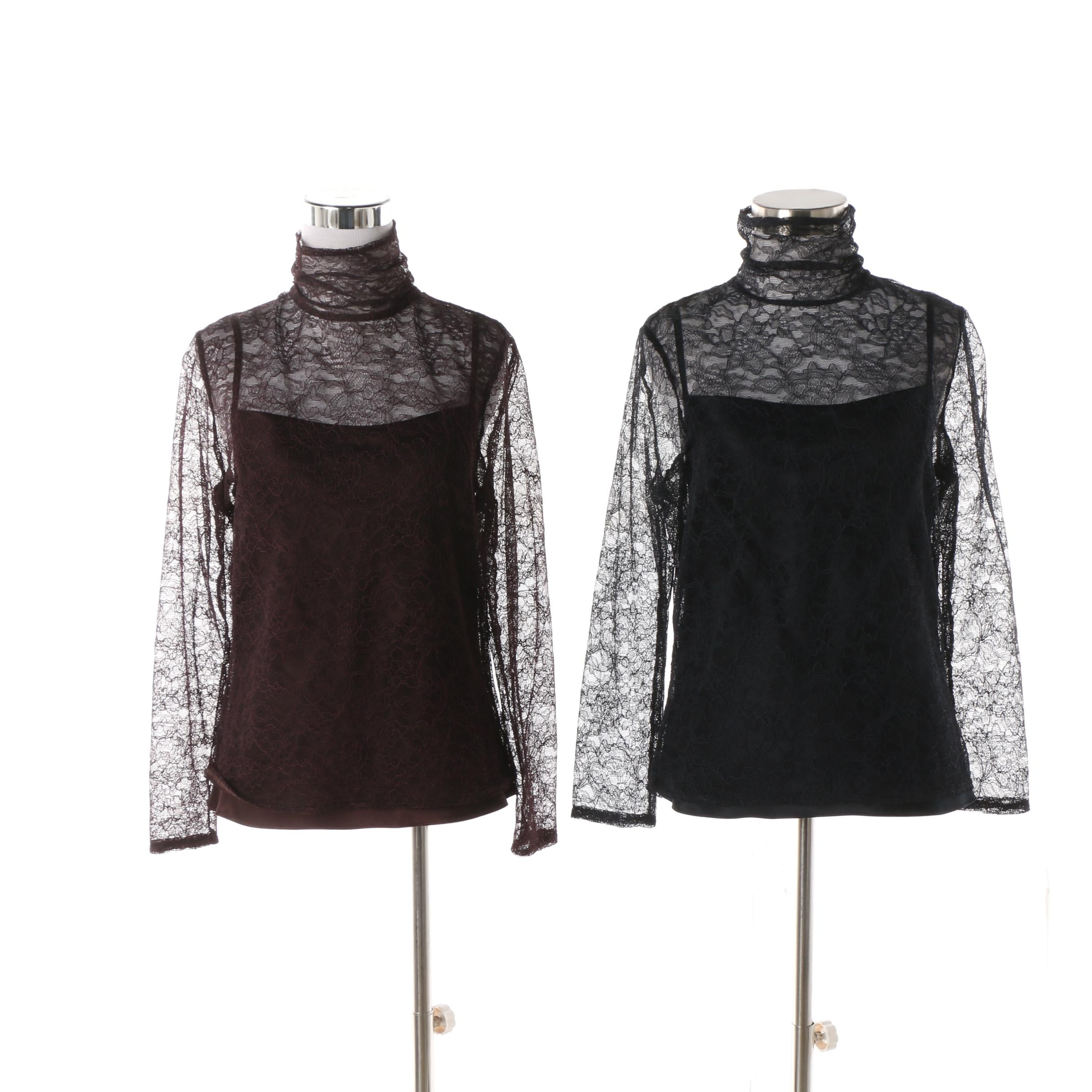 Worth Burgundy and Black Sheer Lace Turtleneck Tops with Silk Camisoles