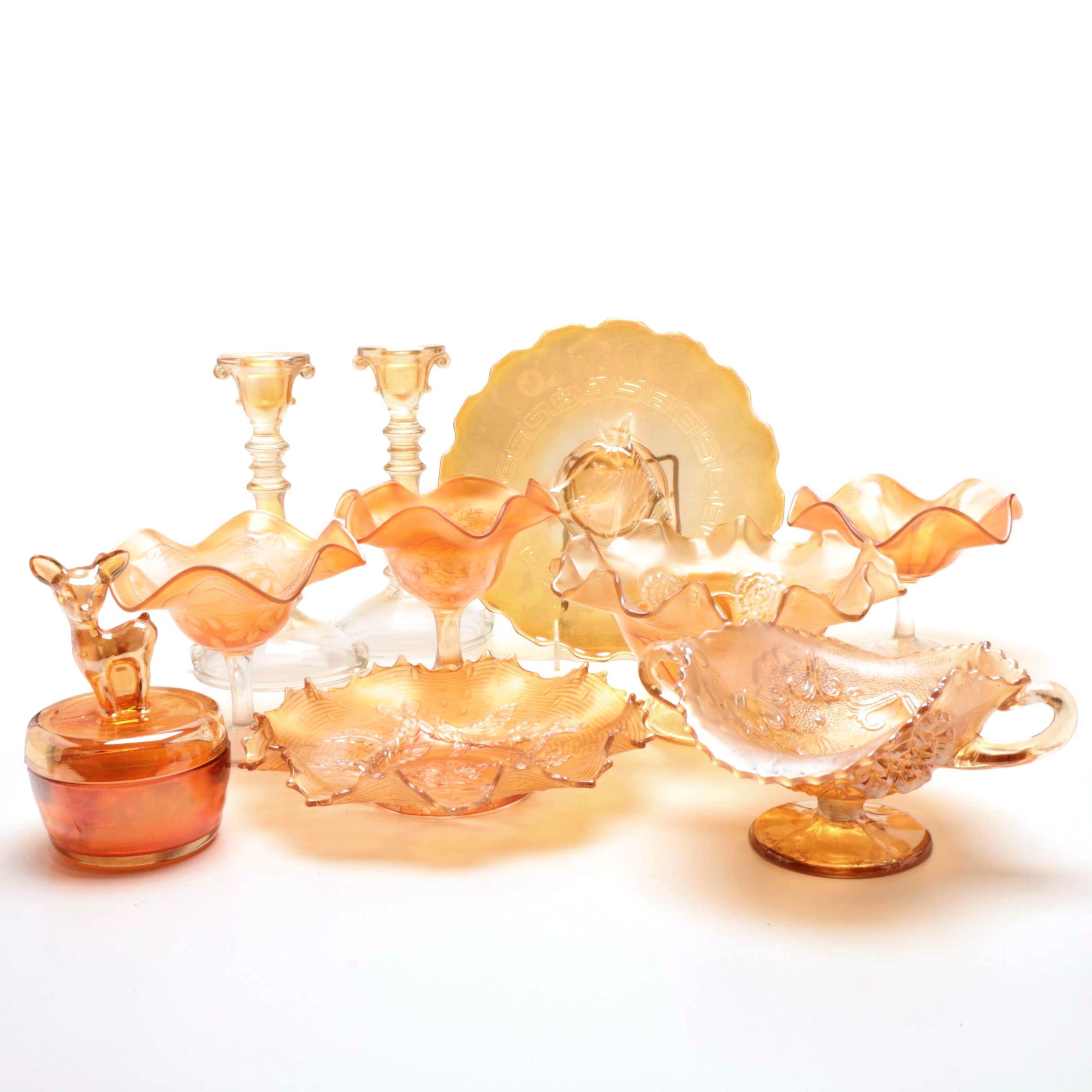 Carnival Glass Serveware and Table Decor