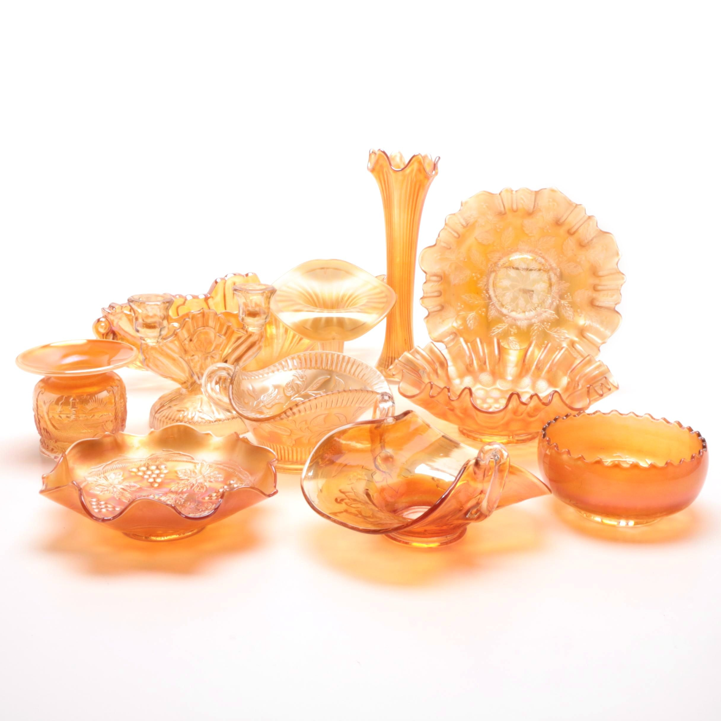 Vintage Carnival Glass Serveware and Decor
