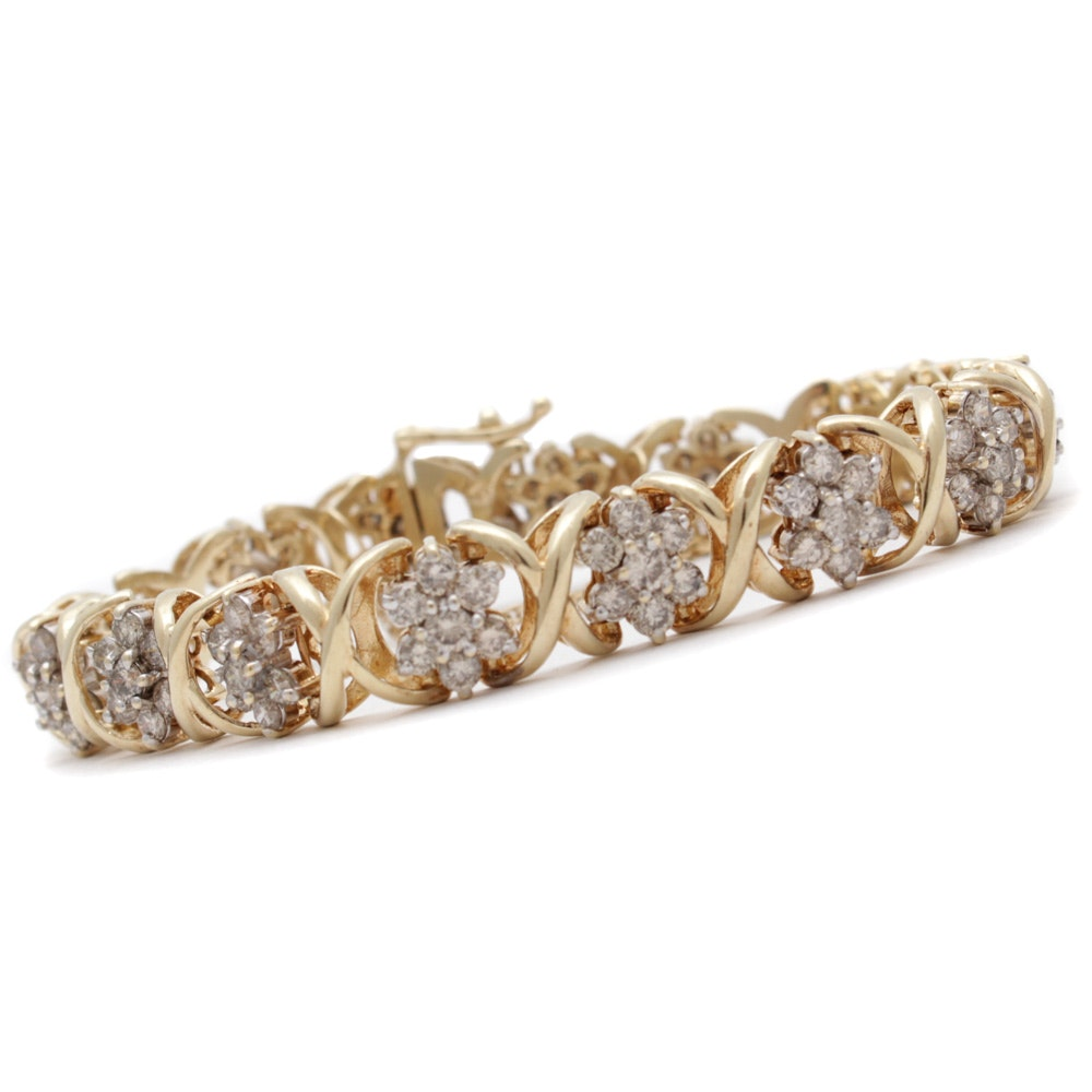 10K Yellow Gold 6.00 CTW Diamond Bracelet
