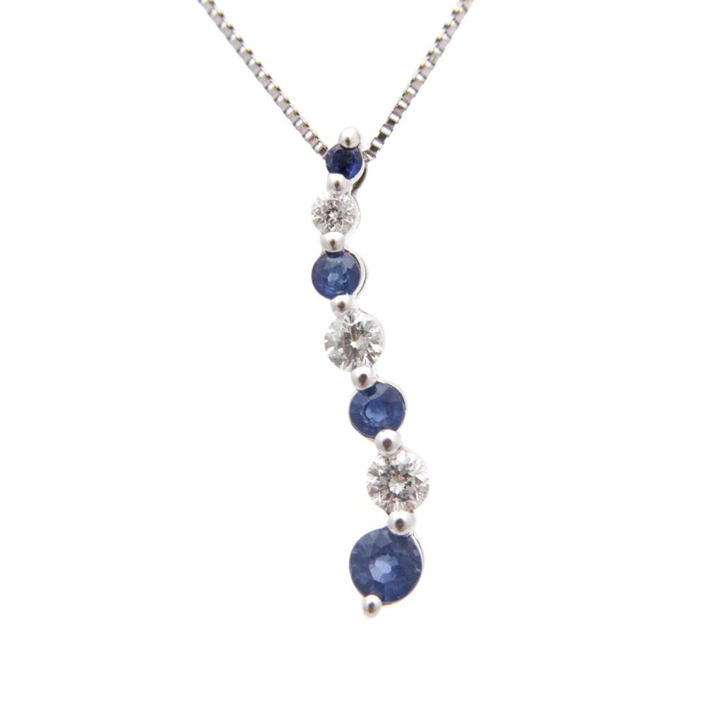 14K White Gold Sapphire Diamond Journey Pendant Necklace