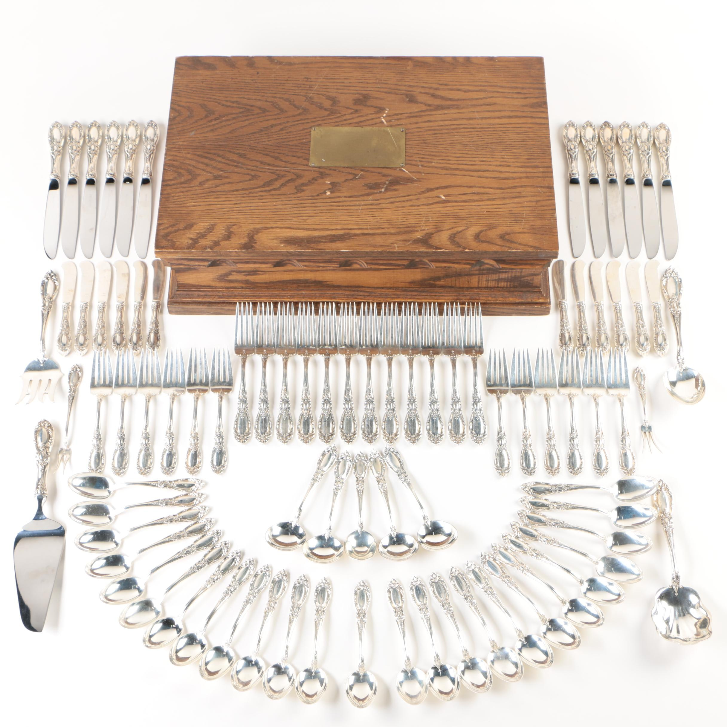 """Towle """"King Richard"""" Sterling Flatware Set with Chest, Early 20th Century"""