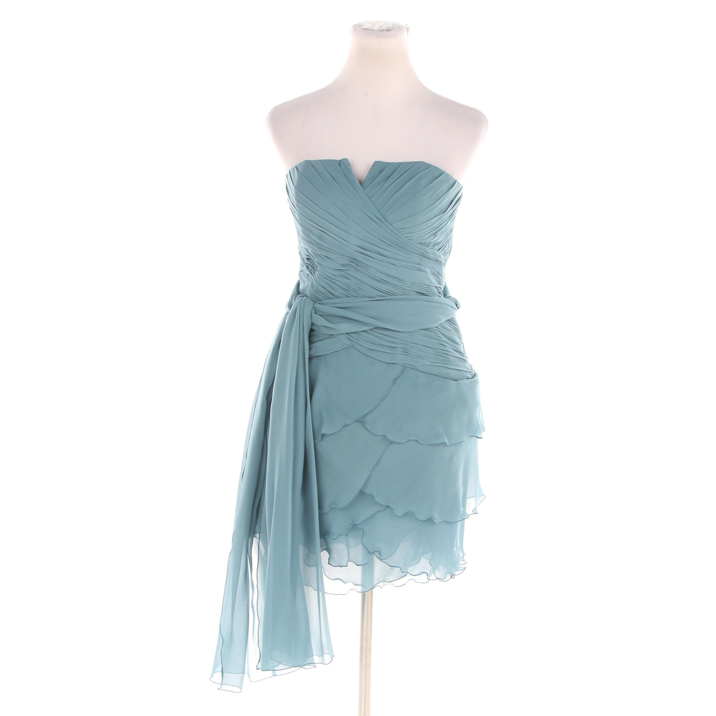 Liancarlo Couture Muted Aqua Ruched and Tiered Dress with Scarf
