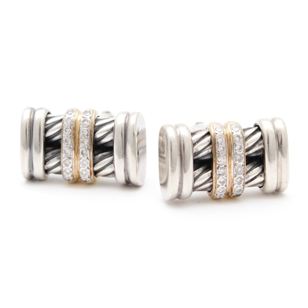 David Yurman Sterling Silver 18K Yellow Gold Cuff Links