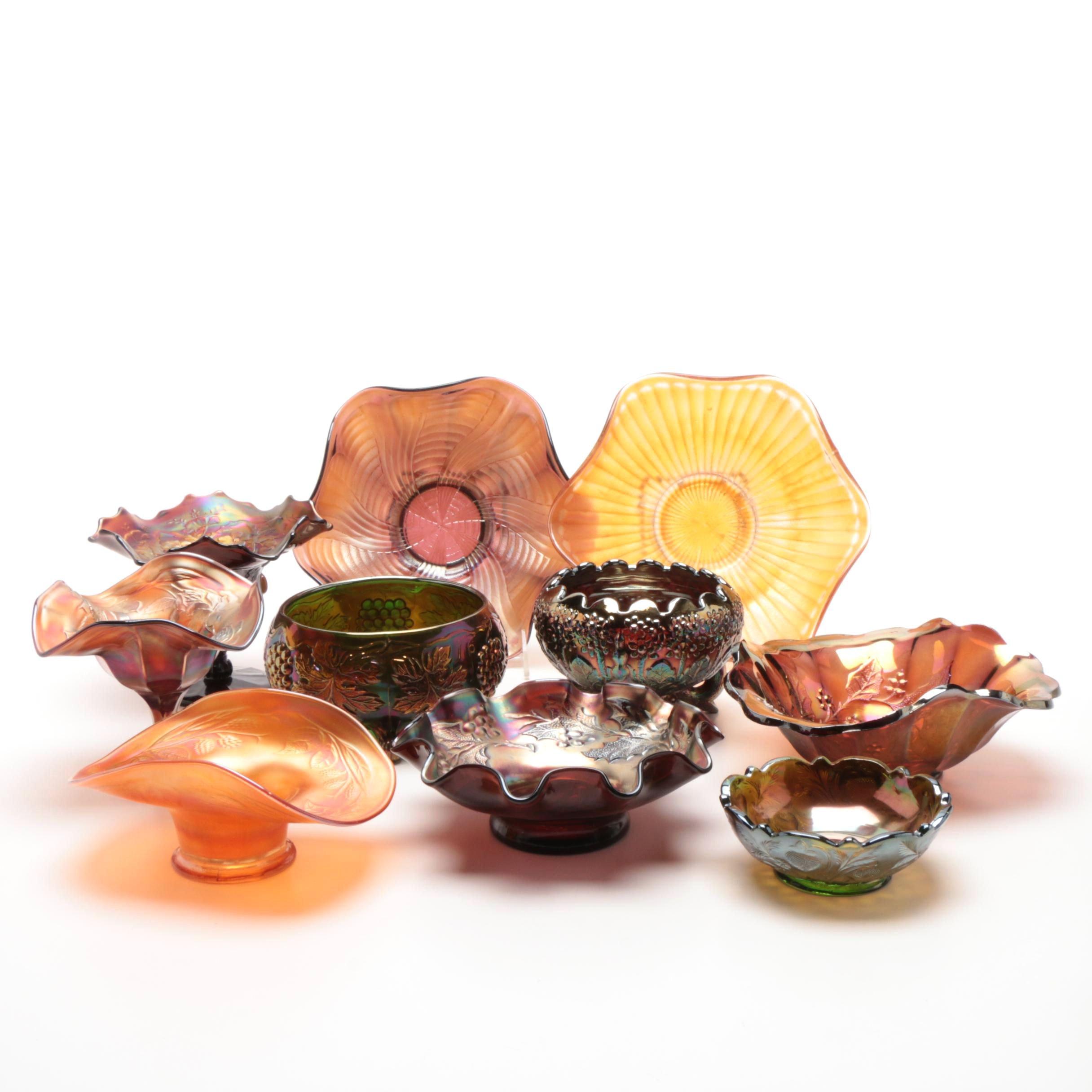 Iridescent Carnival Glass Serveware