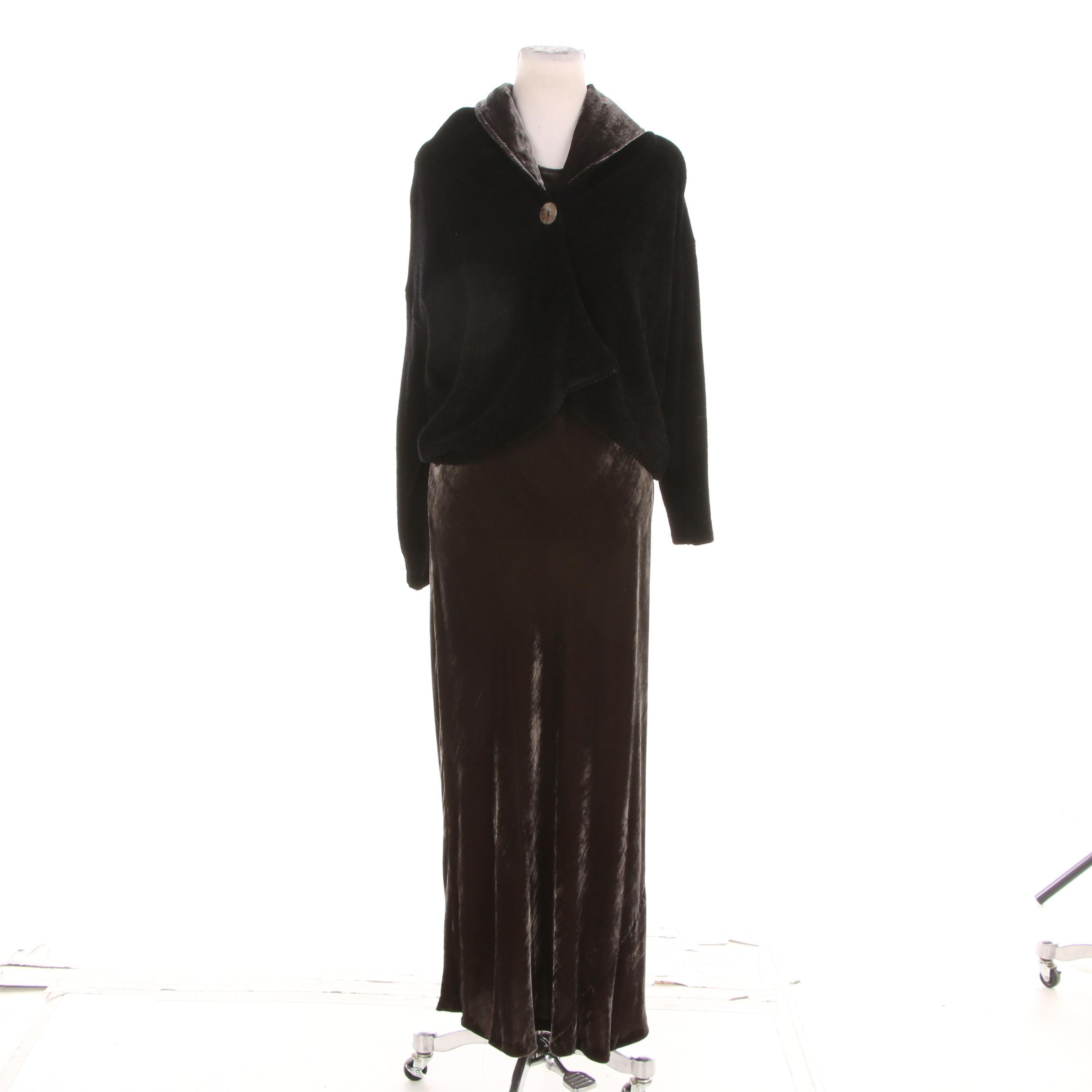 Margaret O'Leary Brown Velvet Bodycon Maxi Dress with Matching Jacket