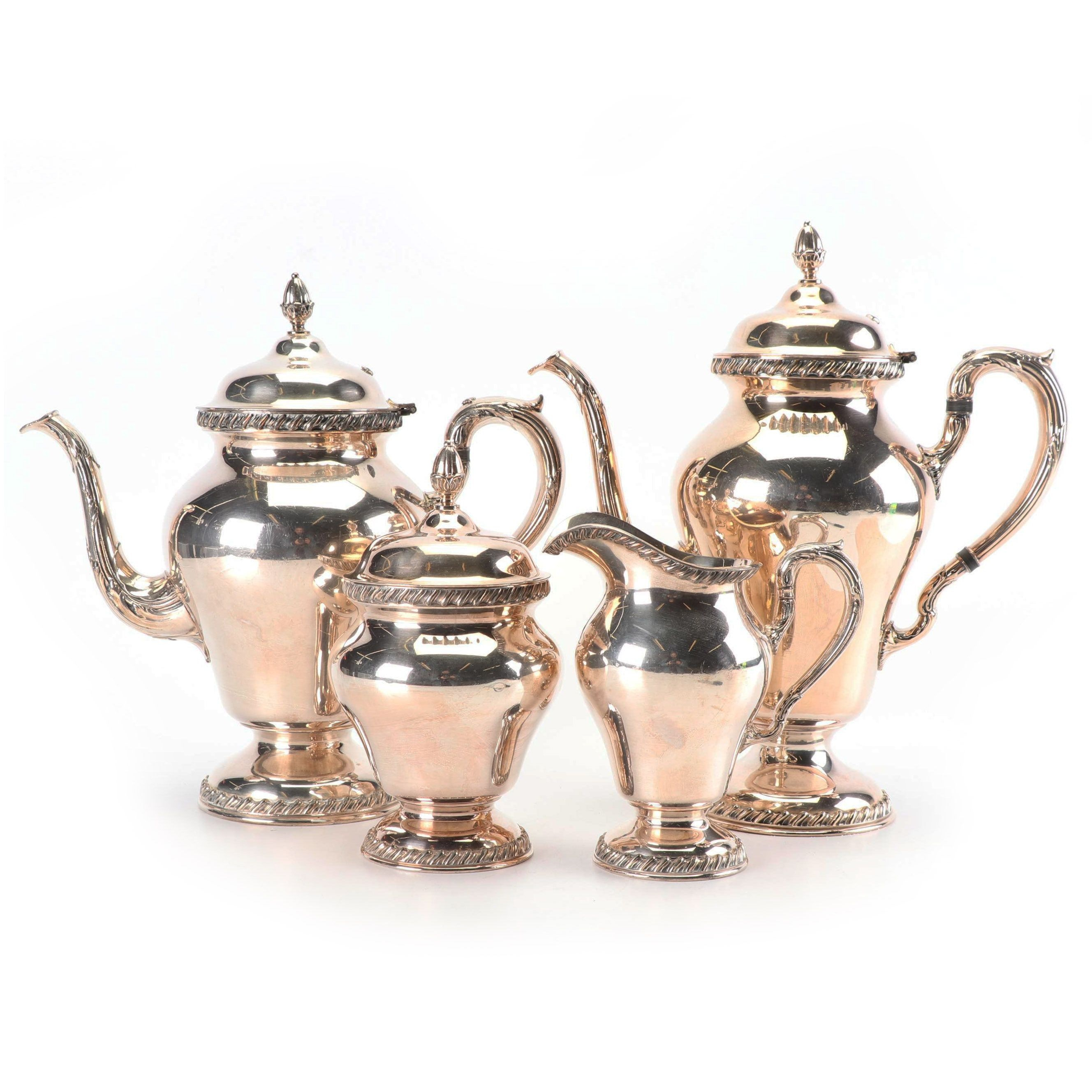 """Wilcox Silver Plate Co. """"Ashley"""" Silver Plate Tea and Coffee Service Set"""