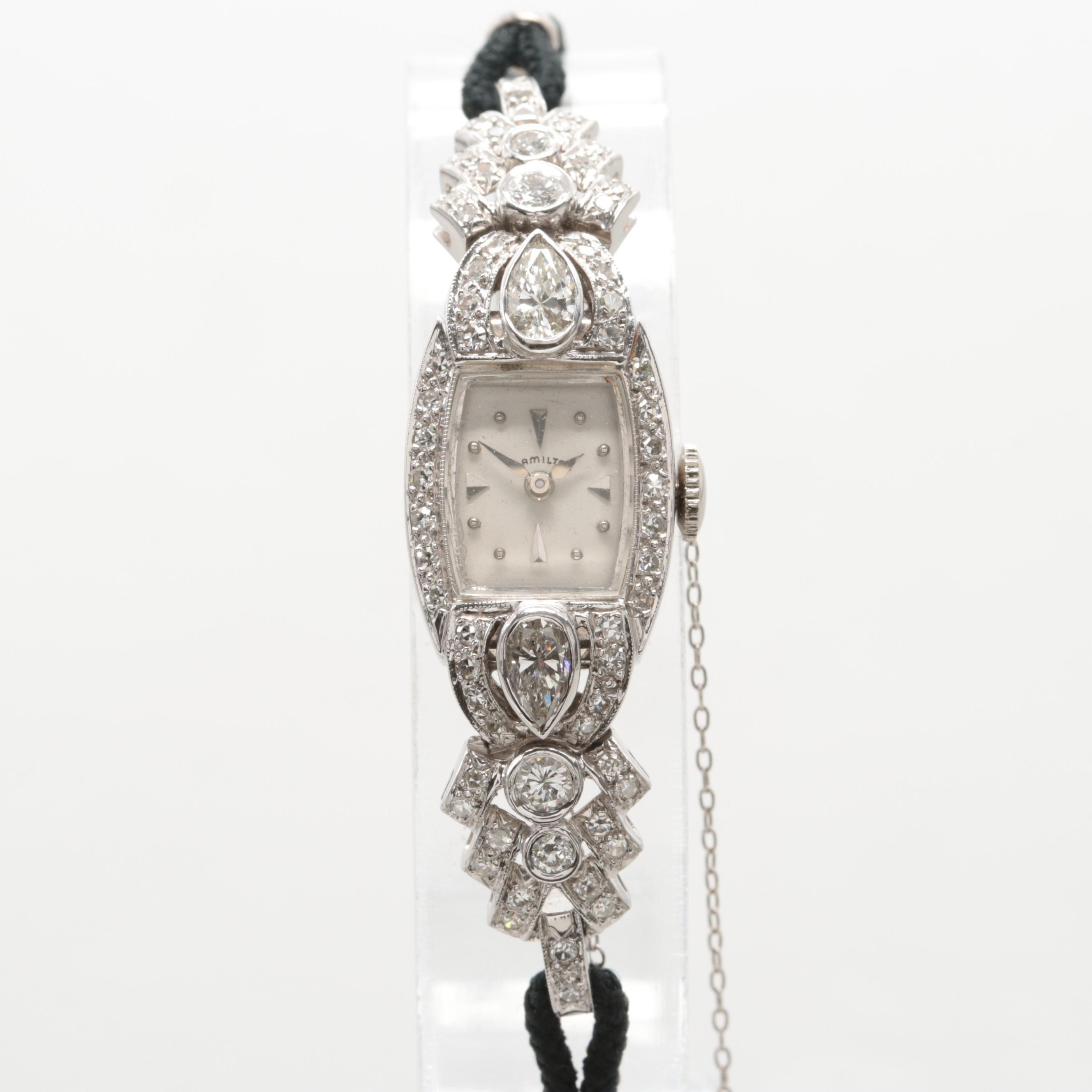 Vintage Hamilton Platinum 1.69 CTW Diamond Stem Wind Wristwatch