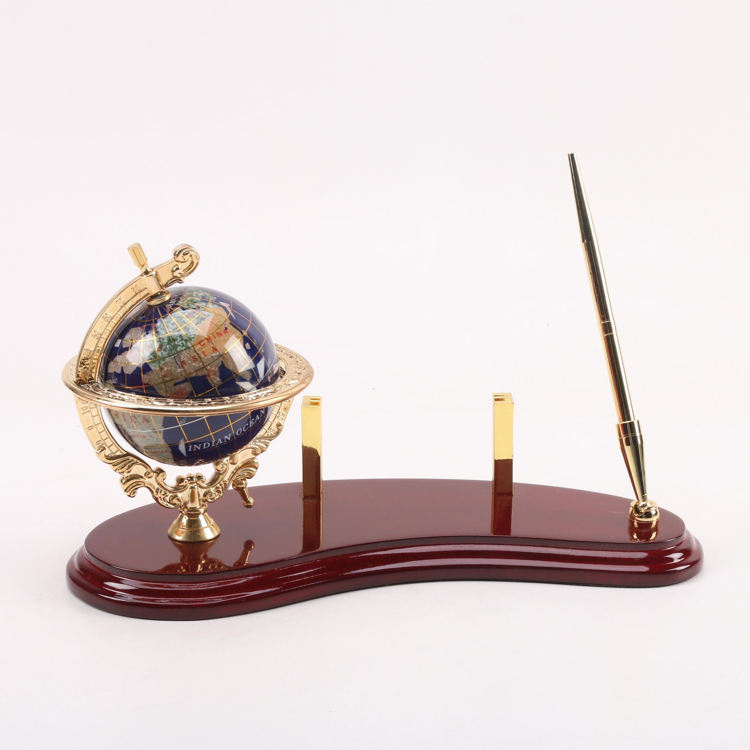 Brass and Stone Axis Globe, Business Card and Pen Holder Desk Set