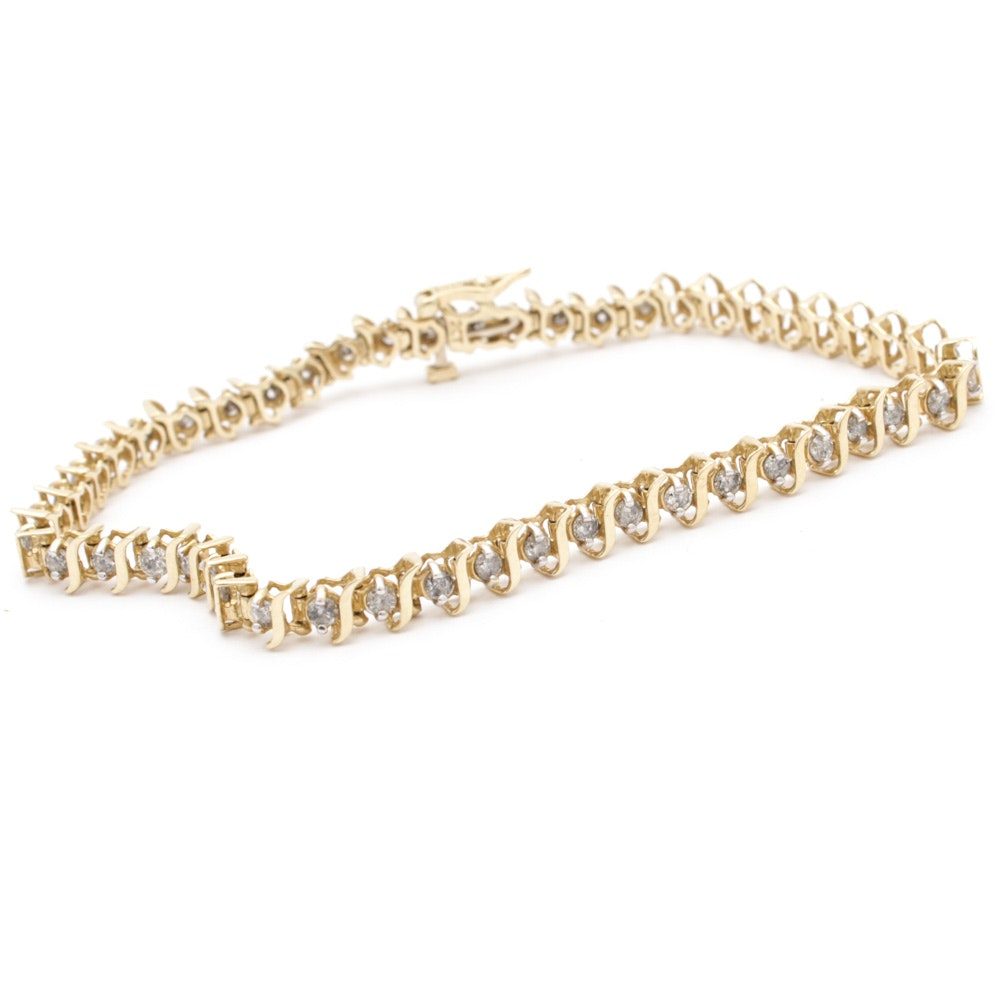 14K Yellow Gold 2.00 CTW Diamond Tennis Bracelet