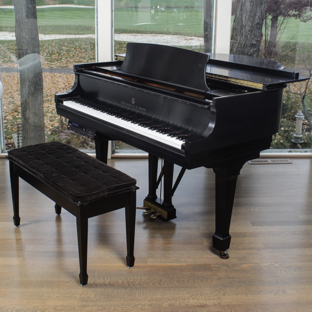 1998 Steinway & Sons Model S Ebony Grand Piano with PianoDisc System and Bench