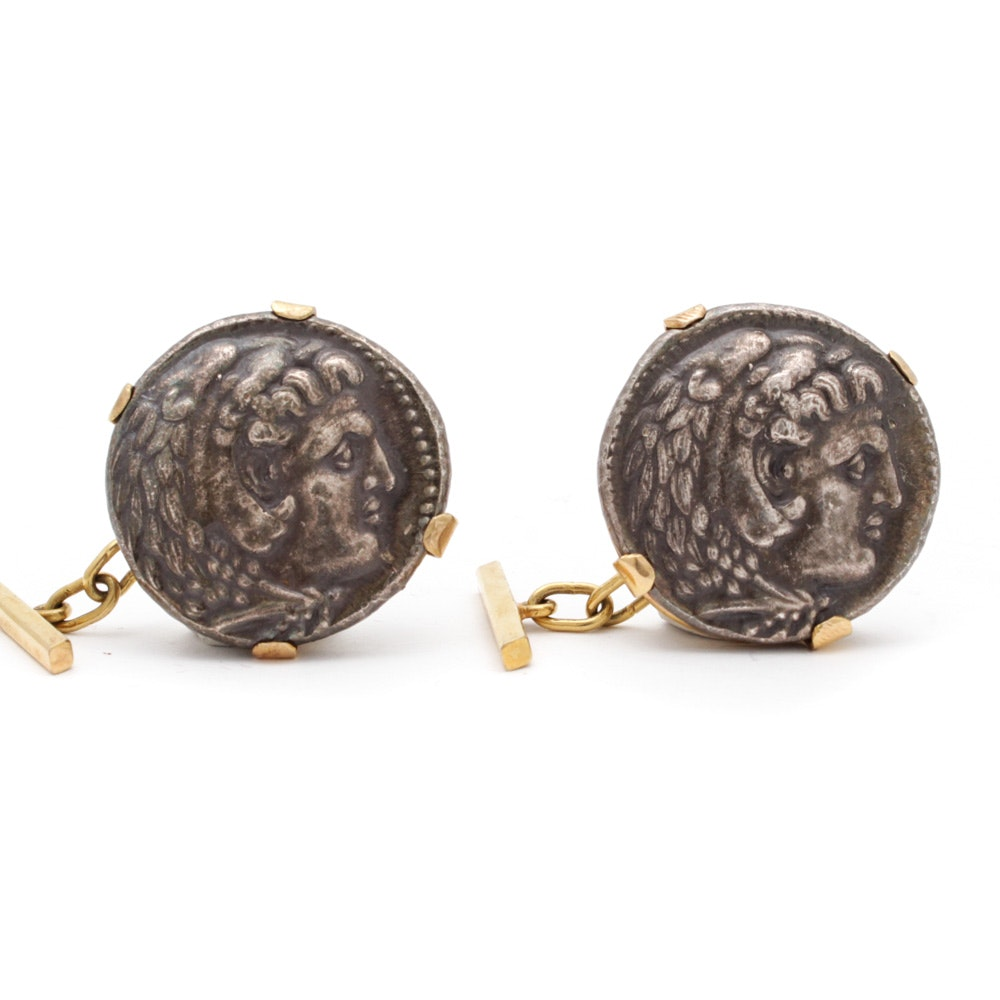 18K Yellow Gold Reproduction Coin Cuff Links