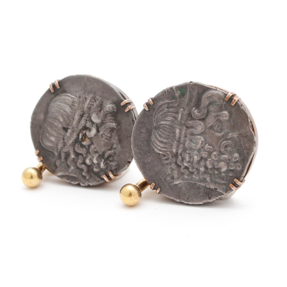 14K Yellow Gold Reproduction Coin Cuff Links