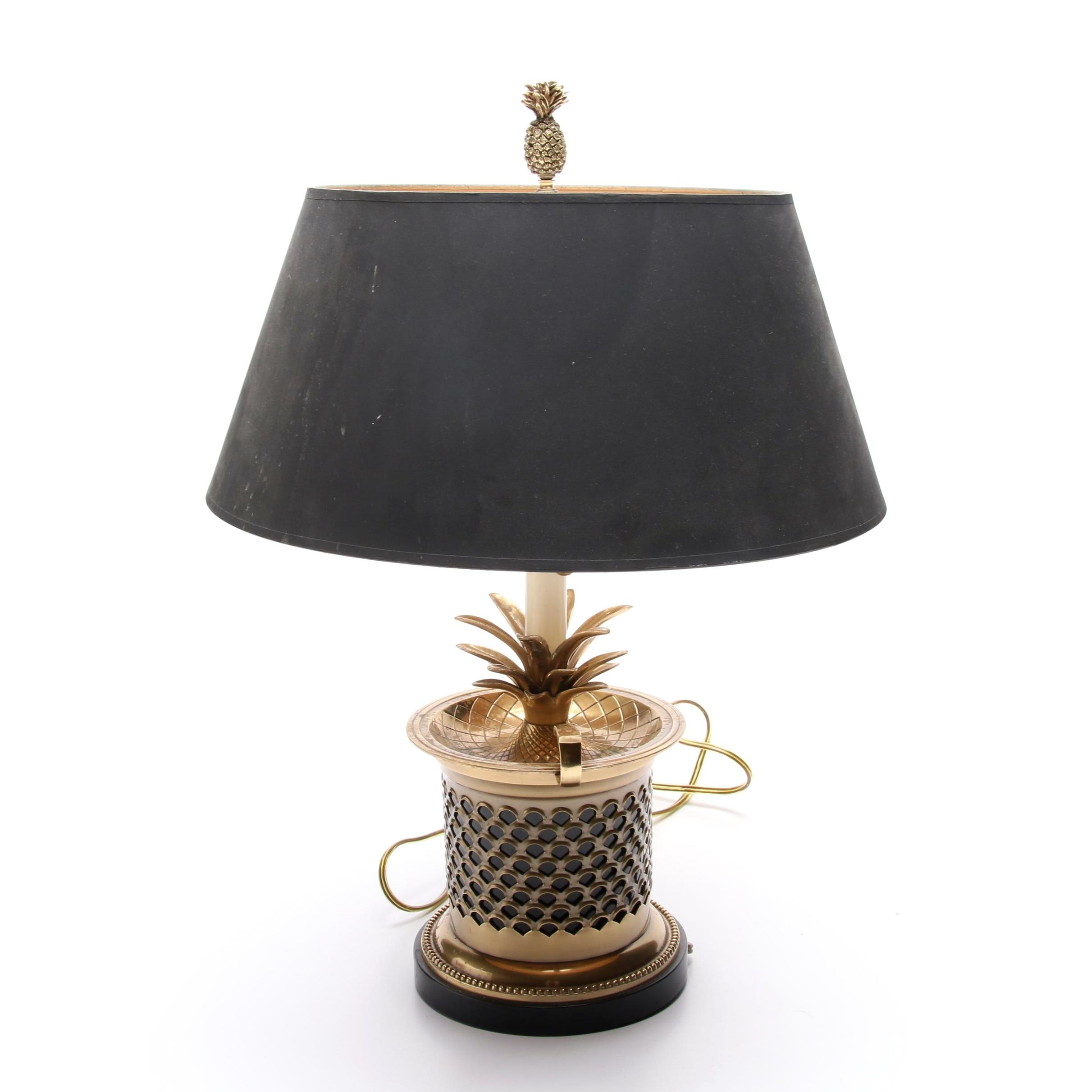 Frederick Cooper Brass Pineapple Table Lamp with Black Shade