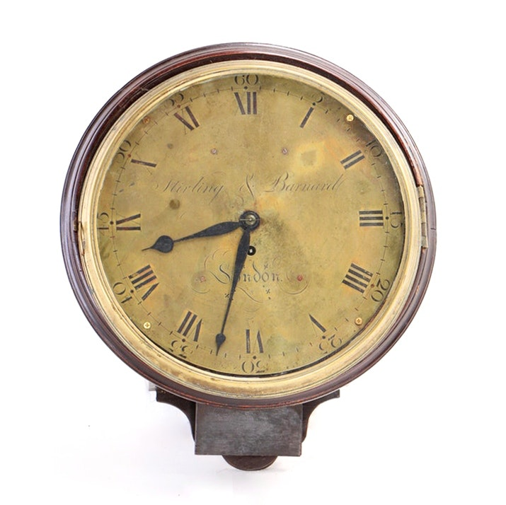 George III Mahogany and Brass Wall Clock, Stirling & Barnard, Early 19th Century