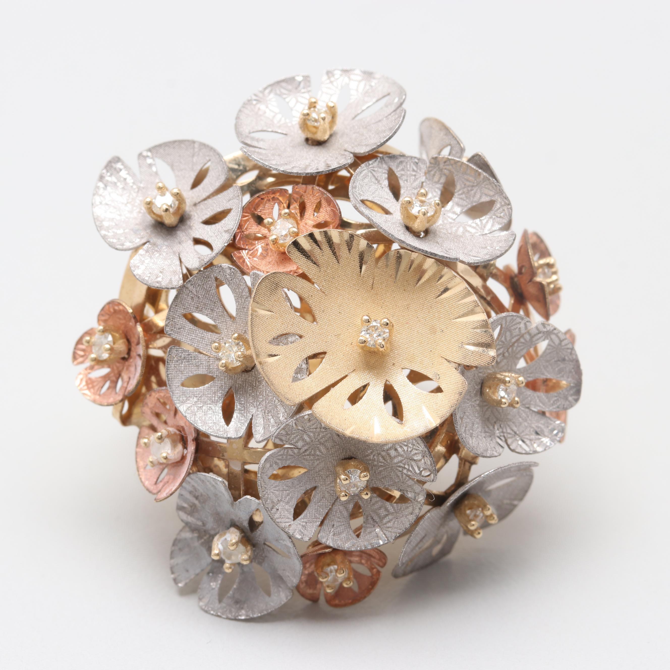 14K Tri-Color Gold Diamond Floral Ring