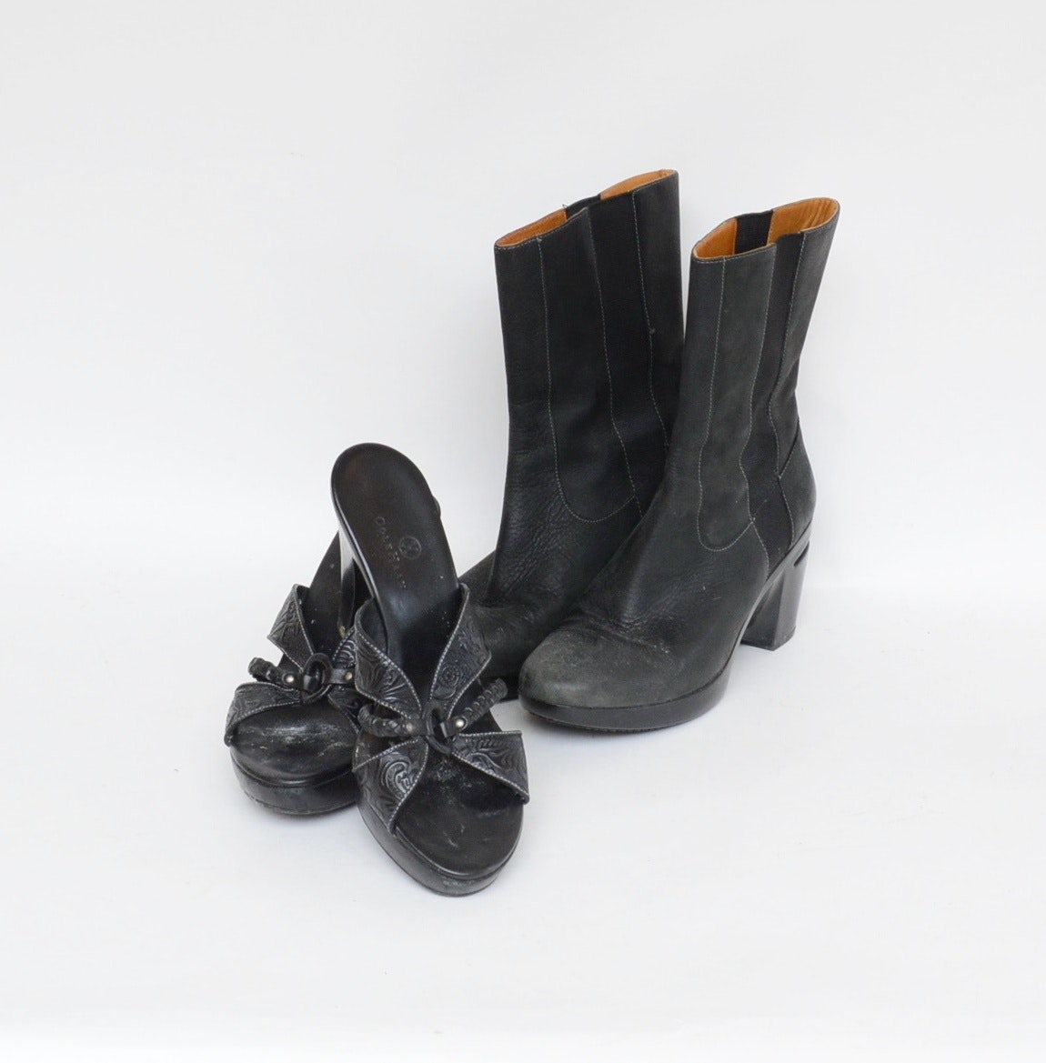 Cole Haan Tooled Leather High-Heeled Sandals and Pull-On Black Leather Boots