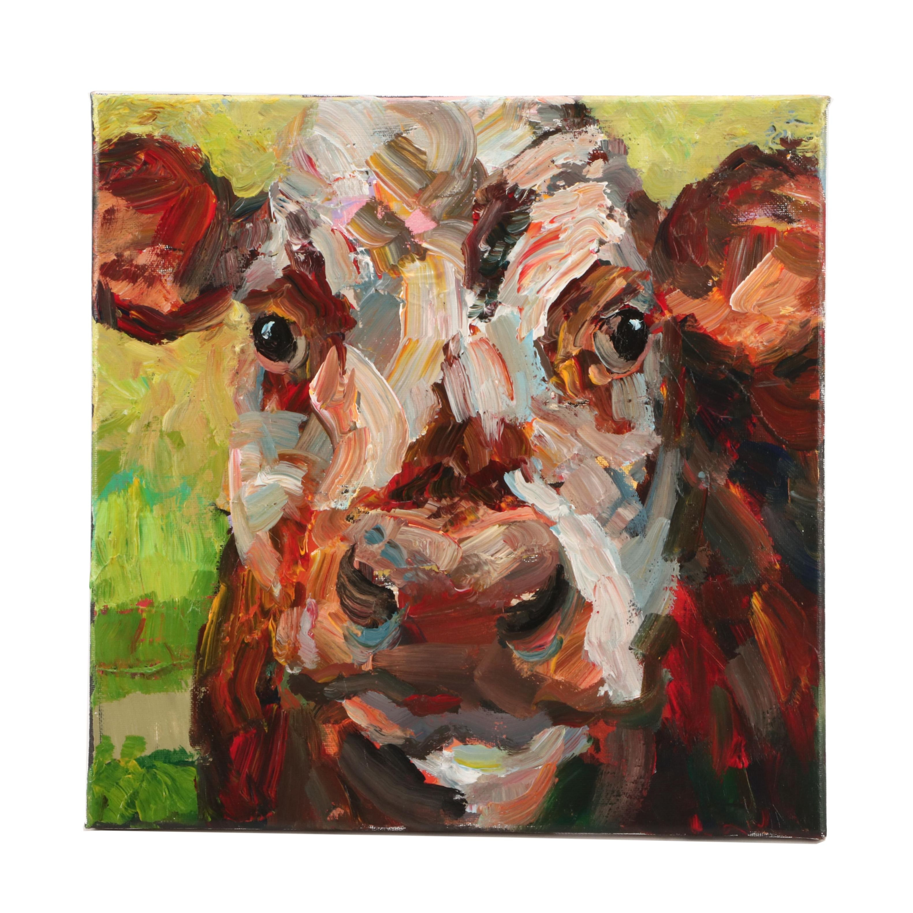 Elle Raines Oil Bovine Portrait Painting
