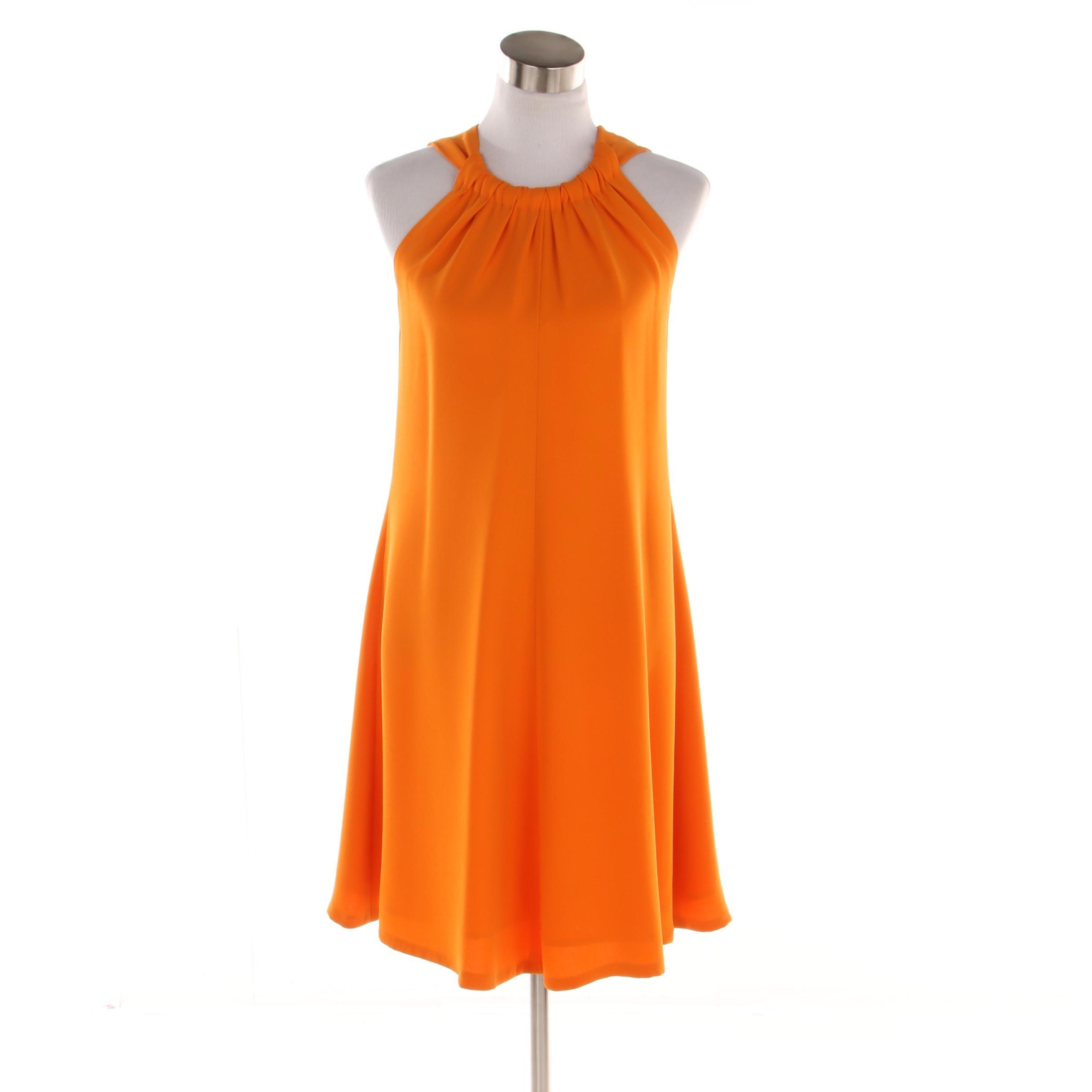 Women's Oscar de la Renta Tangerine Silk Trapeze Cocktail Dress