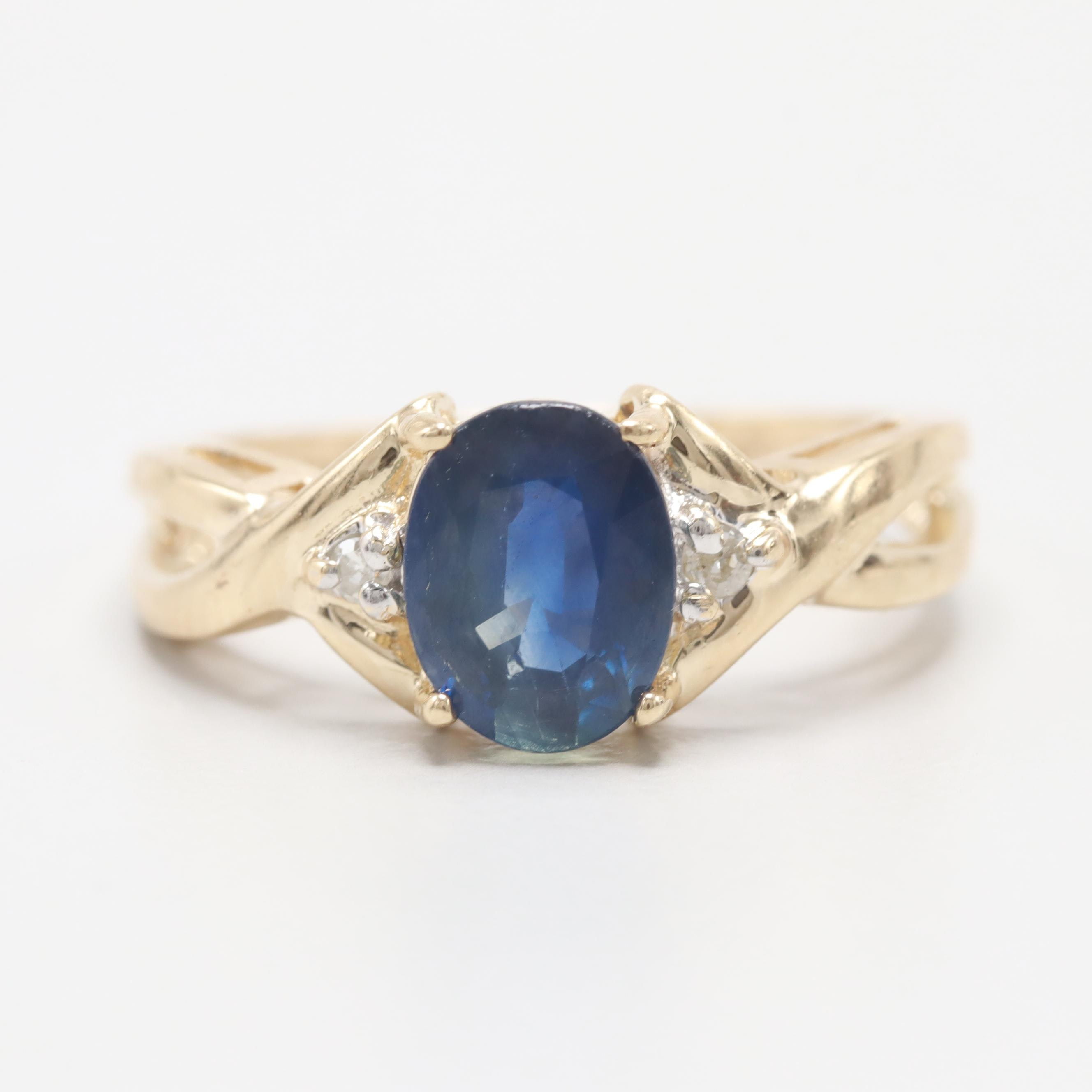 14K Yellow Gold 1.31 CTW Blue Sapphire and Diamond Ring