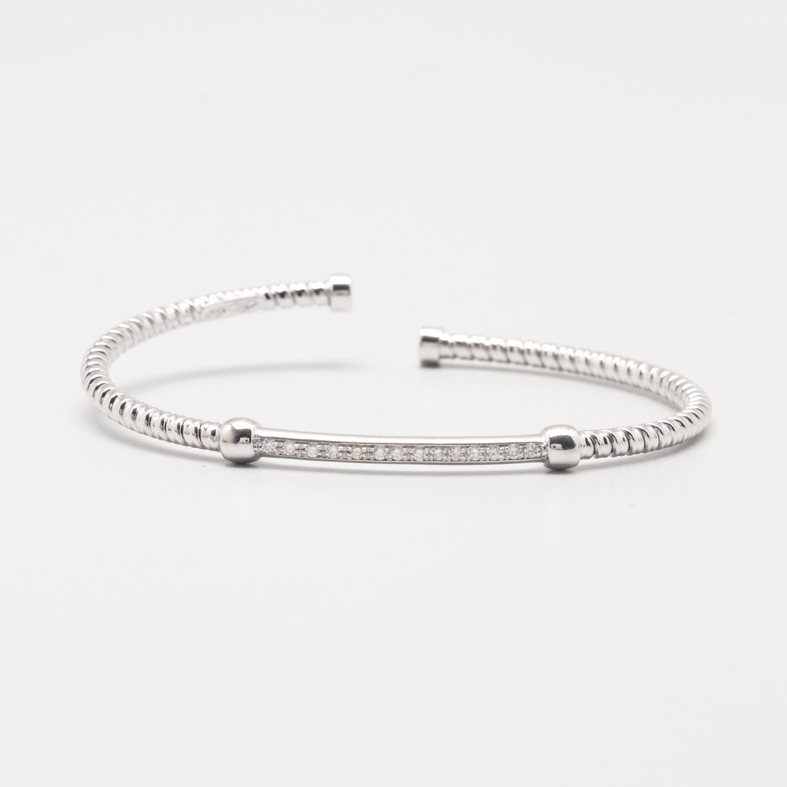 18K White Gold Diamond Bangle Bracelet