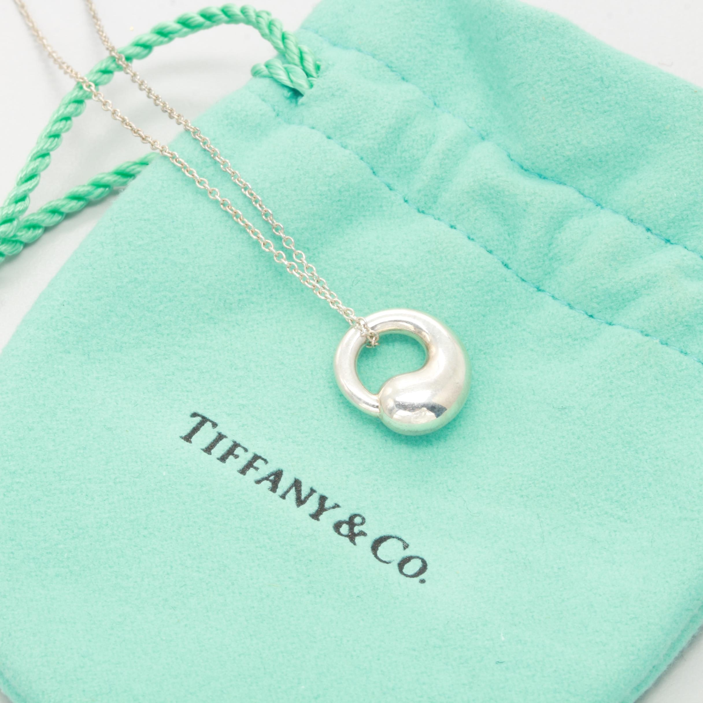"""Elsa Peretti for Tiffany & Co """"Eternal Circle"""" Sterling Silver Pendant Necklace"""