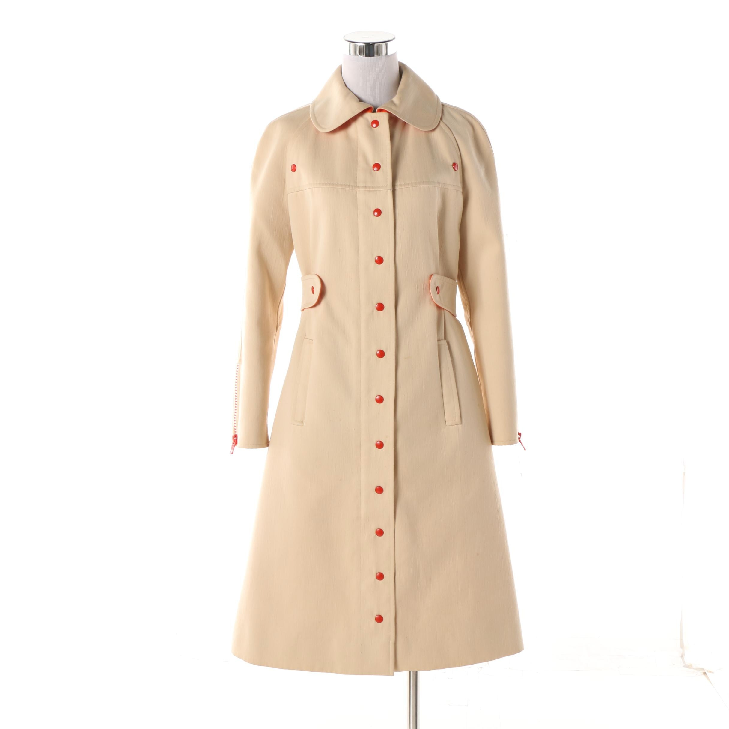 Women's Circa 1960s Vintage Courrèges Paris Cream and Orange Princess Coat