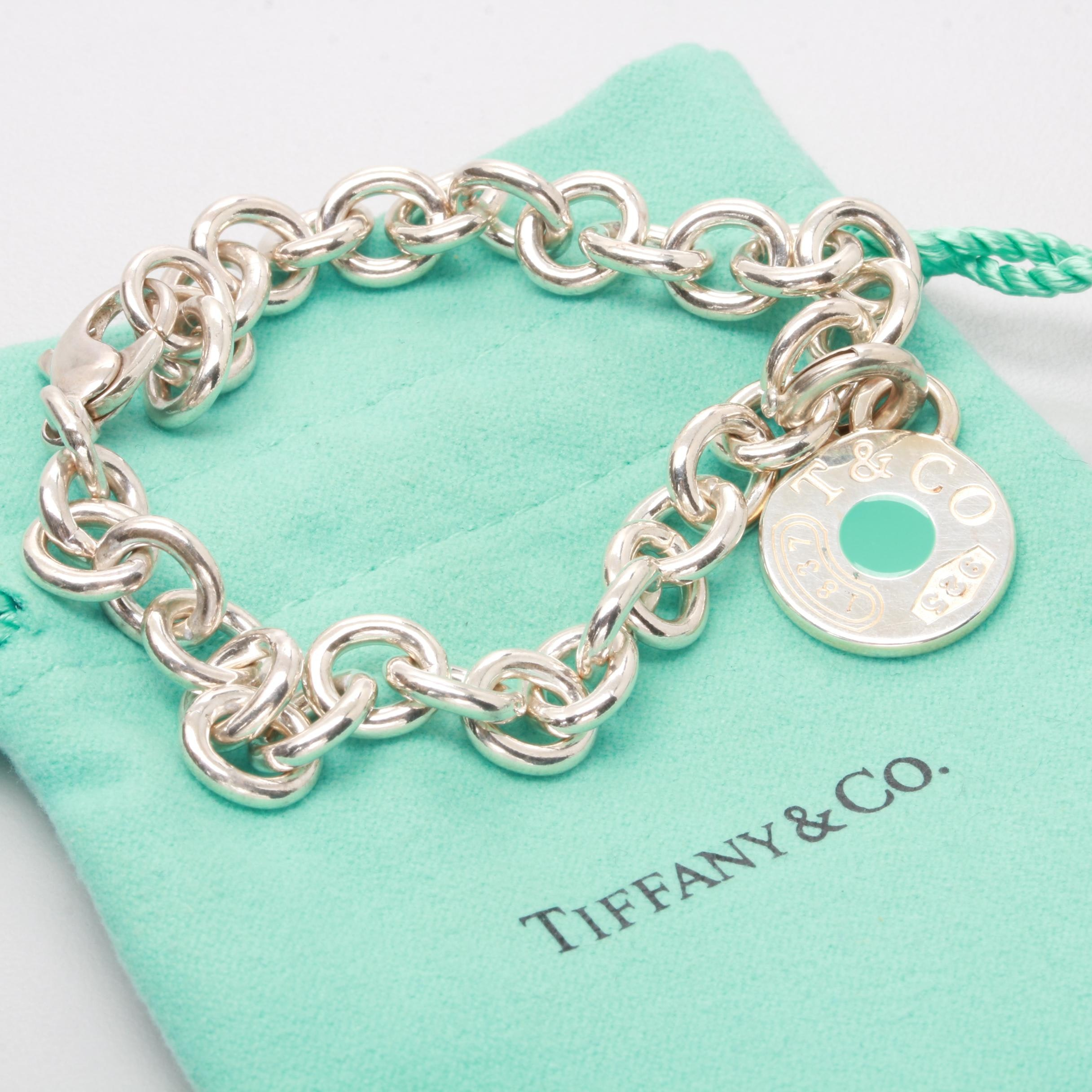 Tiffany & Co Sterling Silver Bracelet with Removable Enamel Charm