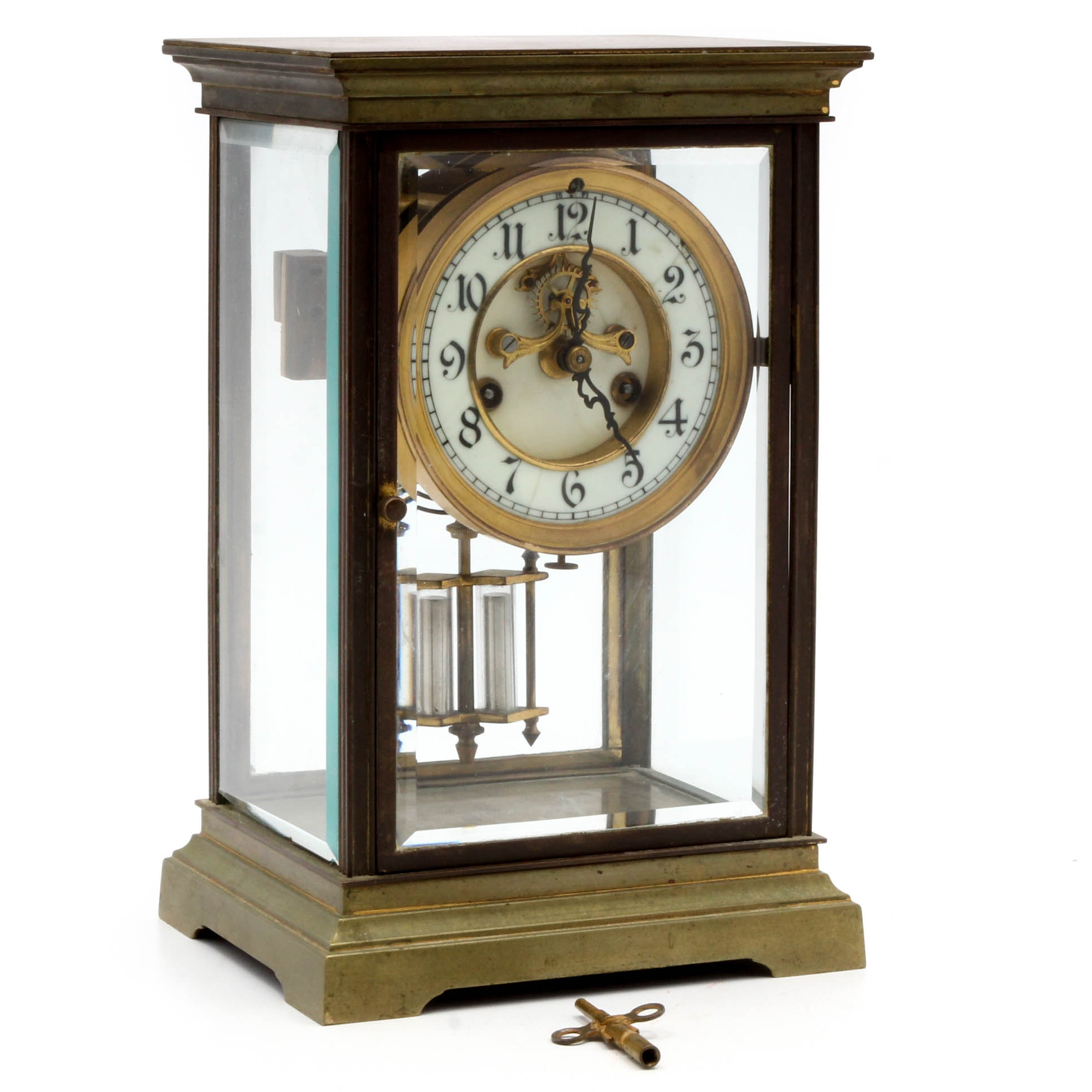 Vintage Waterbury Clock Co. Brass and Beveled Glass Mantel Clock